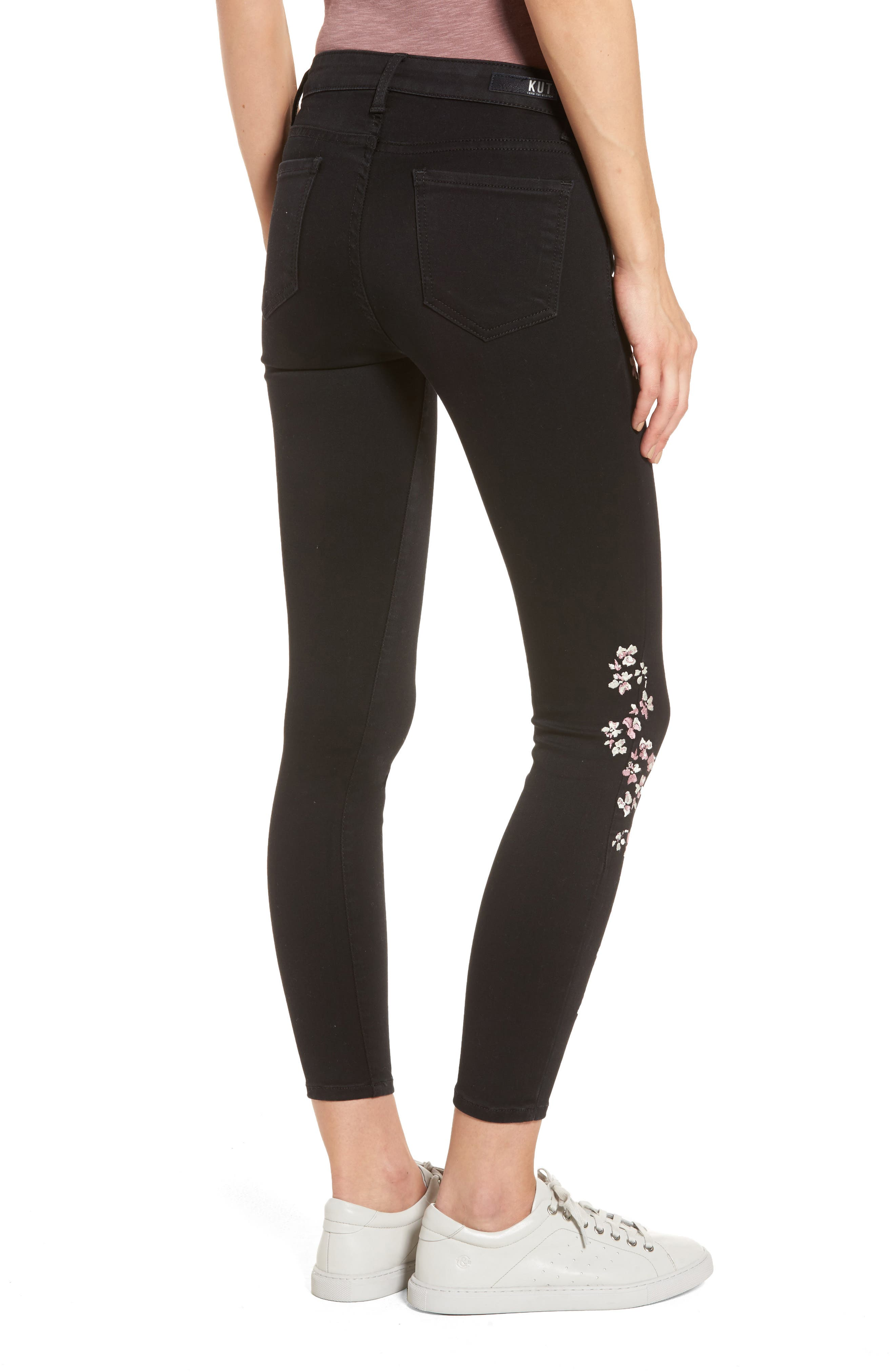Connie Embroidered Skinny Ankle Jeans,                             Alternate thumbnail 2, color,                             002