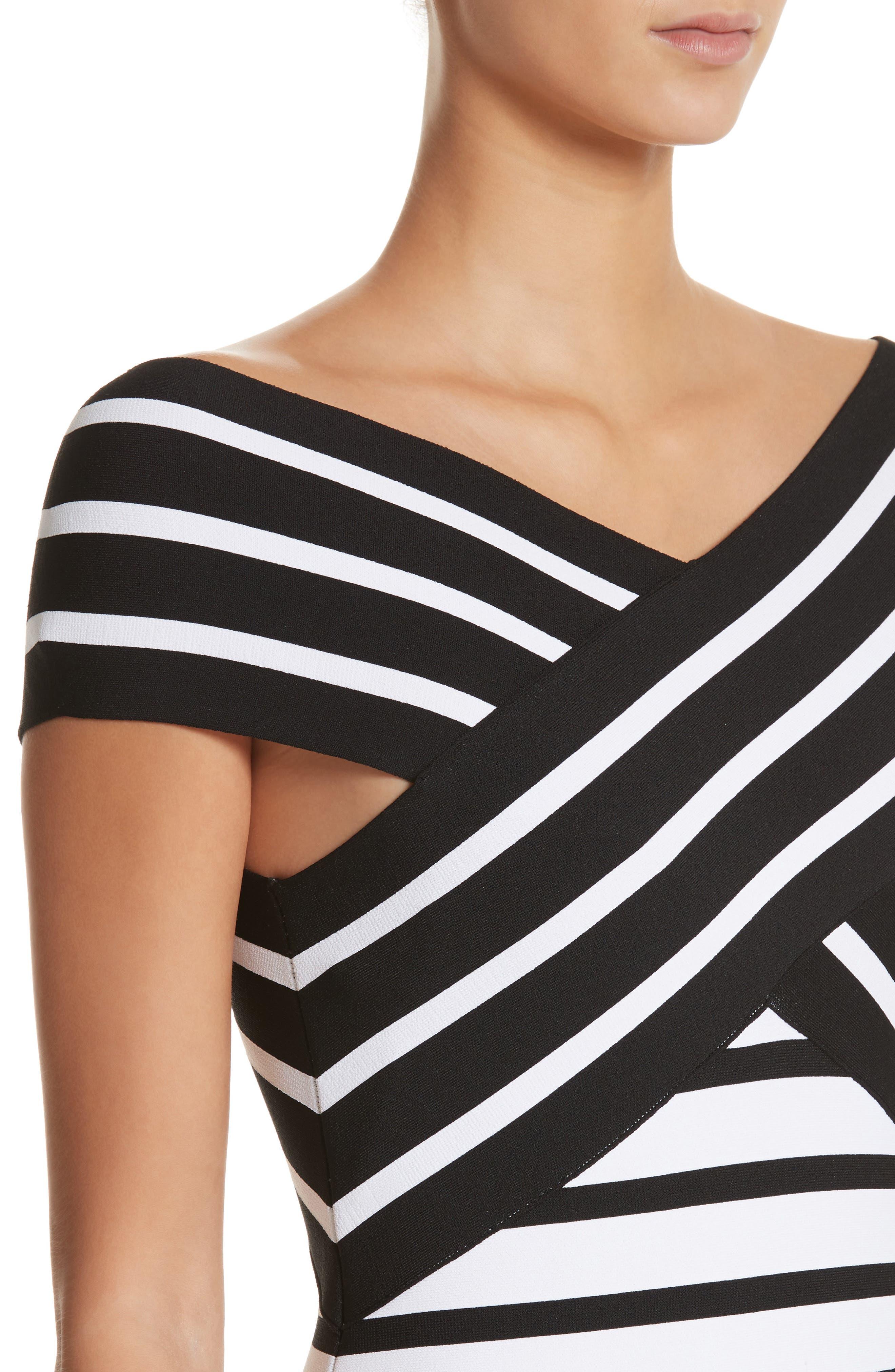 Stripe Off the Shoulder Maxi Dress,                             Alternate thumbnail 4, color,