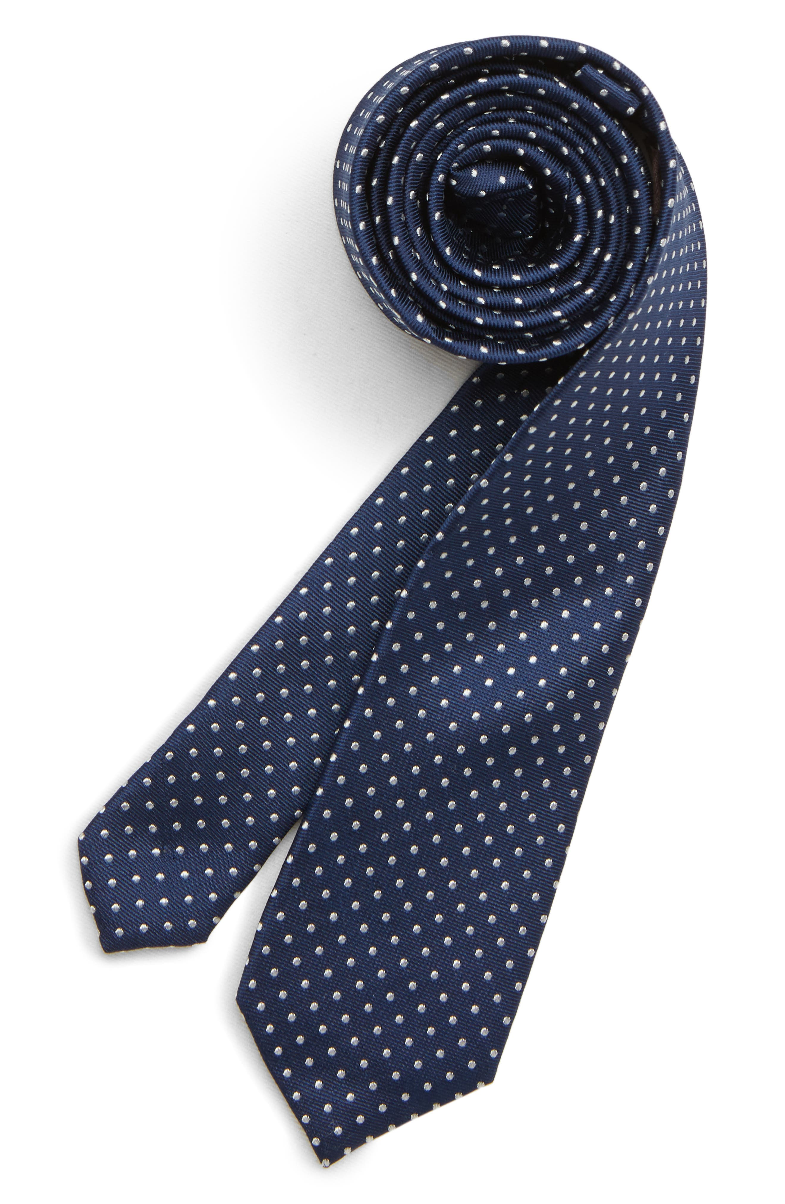 MICHAEL KORS Dot Silk Tie, Main, color, NAVY