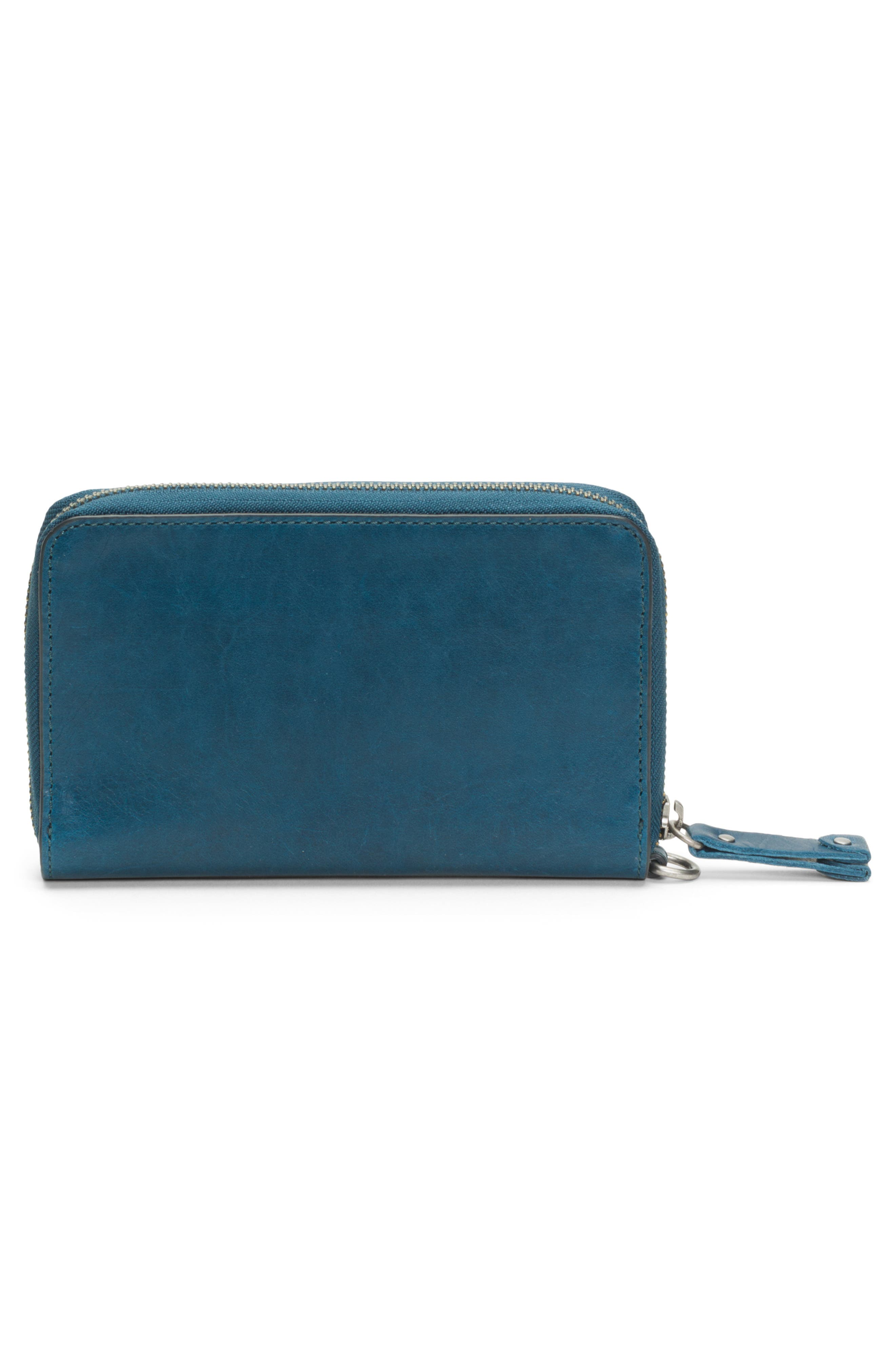 Melissa Large Leather Phone Wallet,                             Alternate thumbnail 3, color,                             PEACOCK