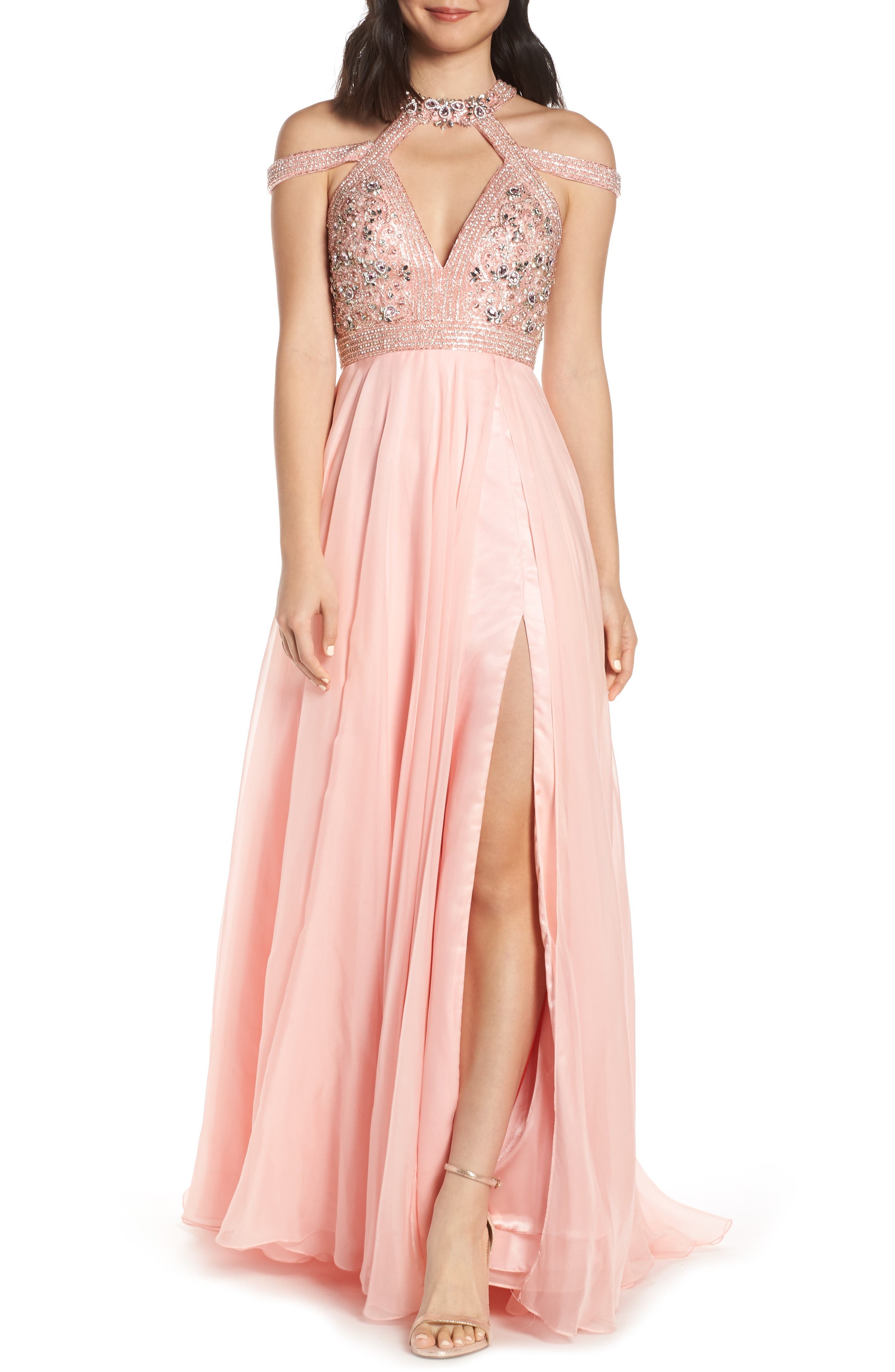 MAC Duggal Strappy Beaded Bodice Chiffon Evening Dress, Pink
