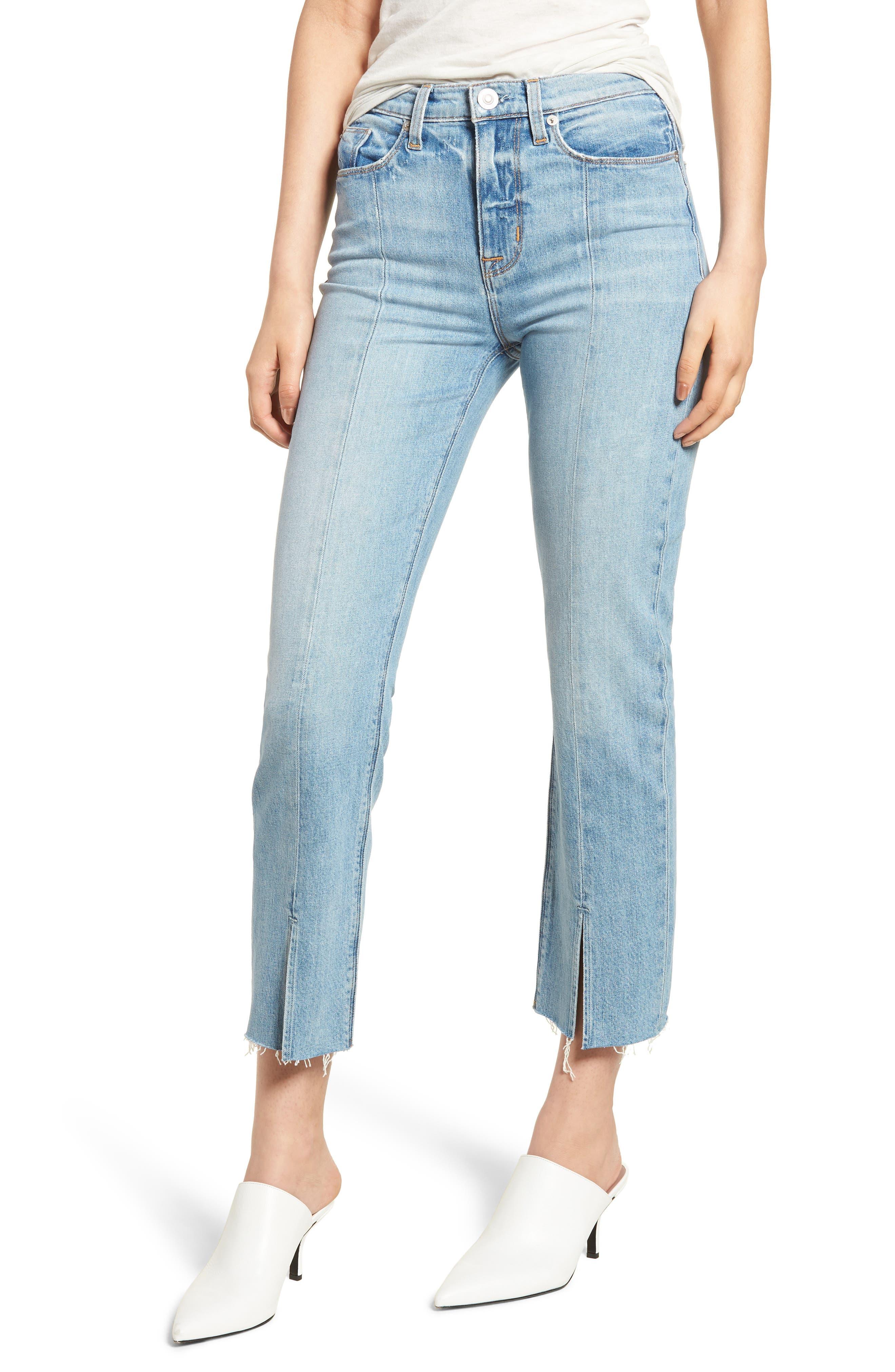 Zoeey Crop Split Hem Straight Leg Jeans,                         Main,                         color, 421