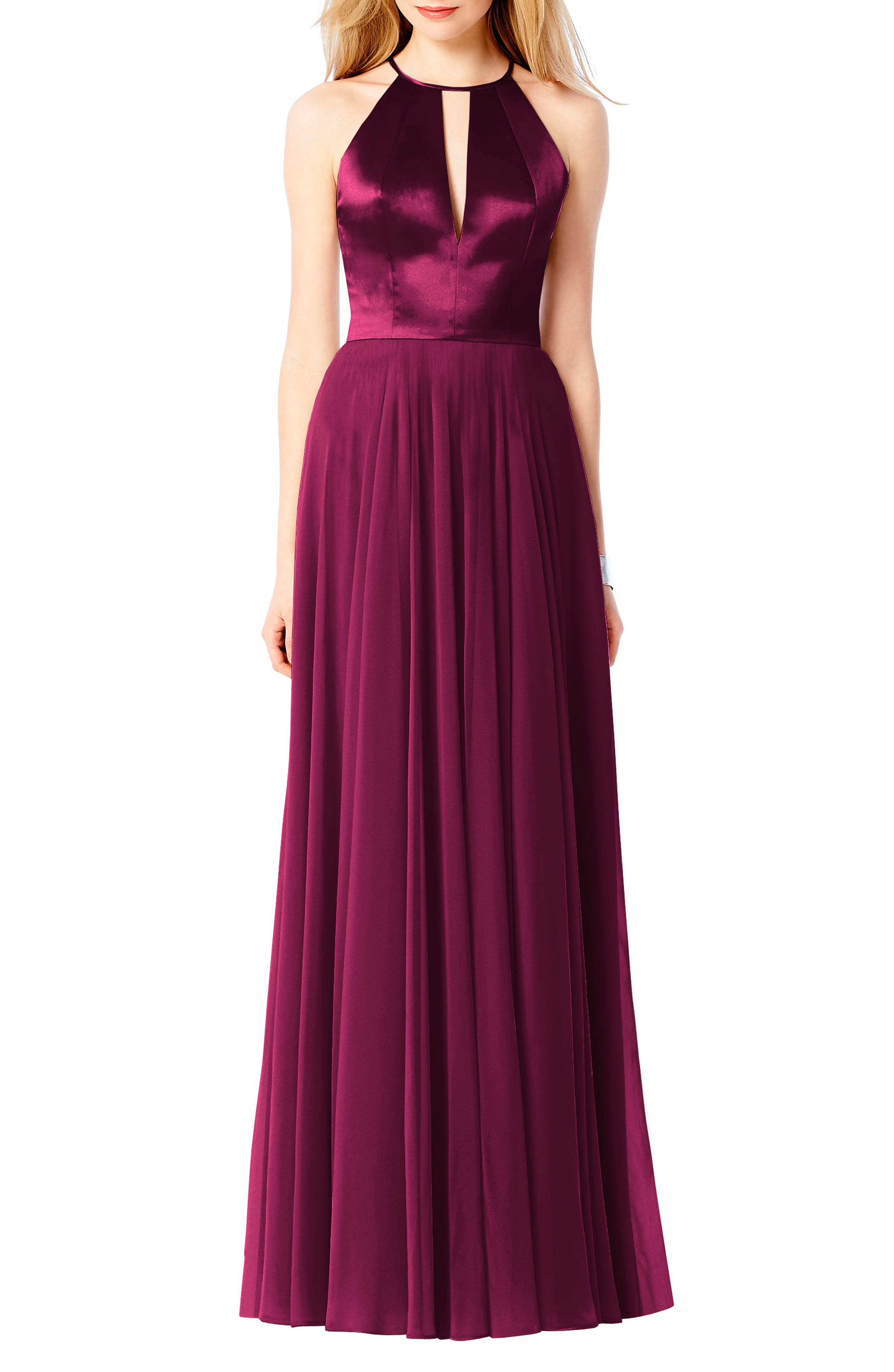 After Six Satin & Chiffon Gown, Red