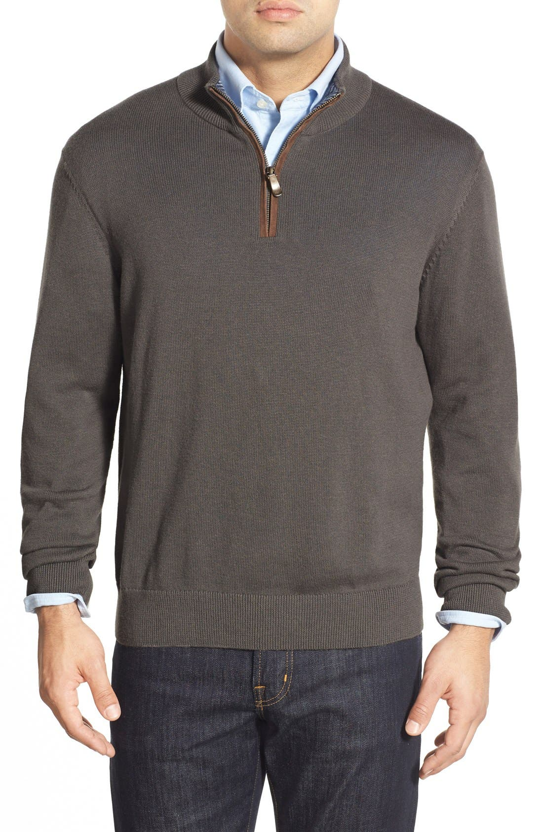 'Round Hill' Quarter Zip Sweater with Suede Elbow Patches, Main, color, 025