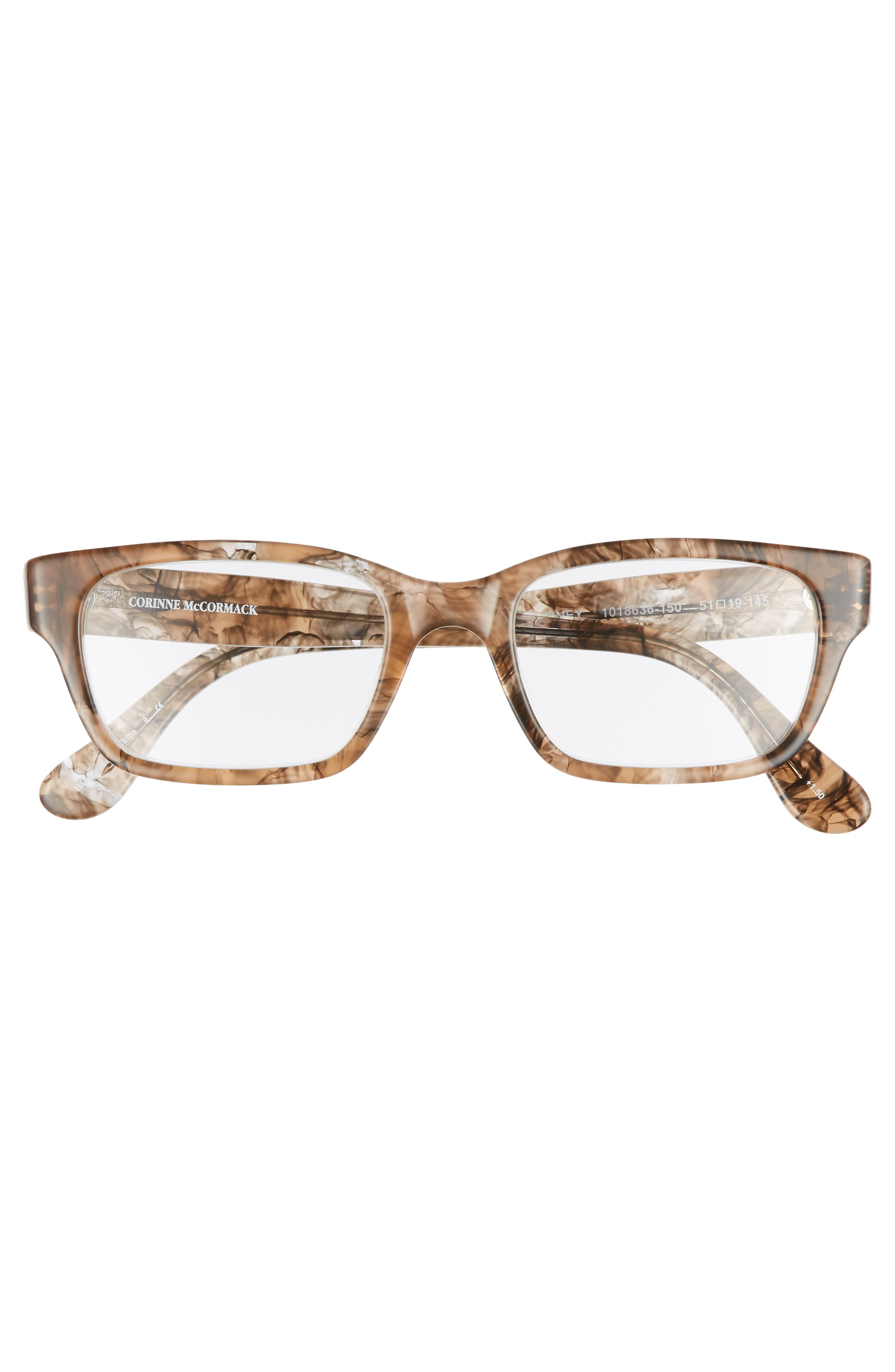 'Sydney' 51mm Reading Glasses,                             Alternate thumbnail 3, color,                             TRANSPARENT MARBLE