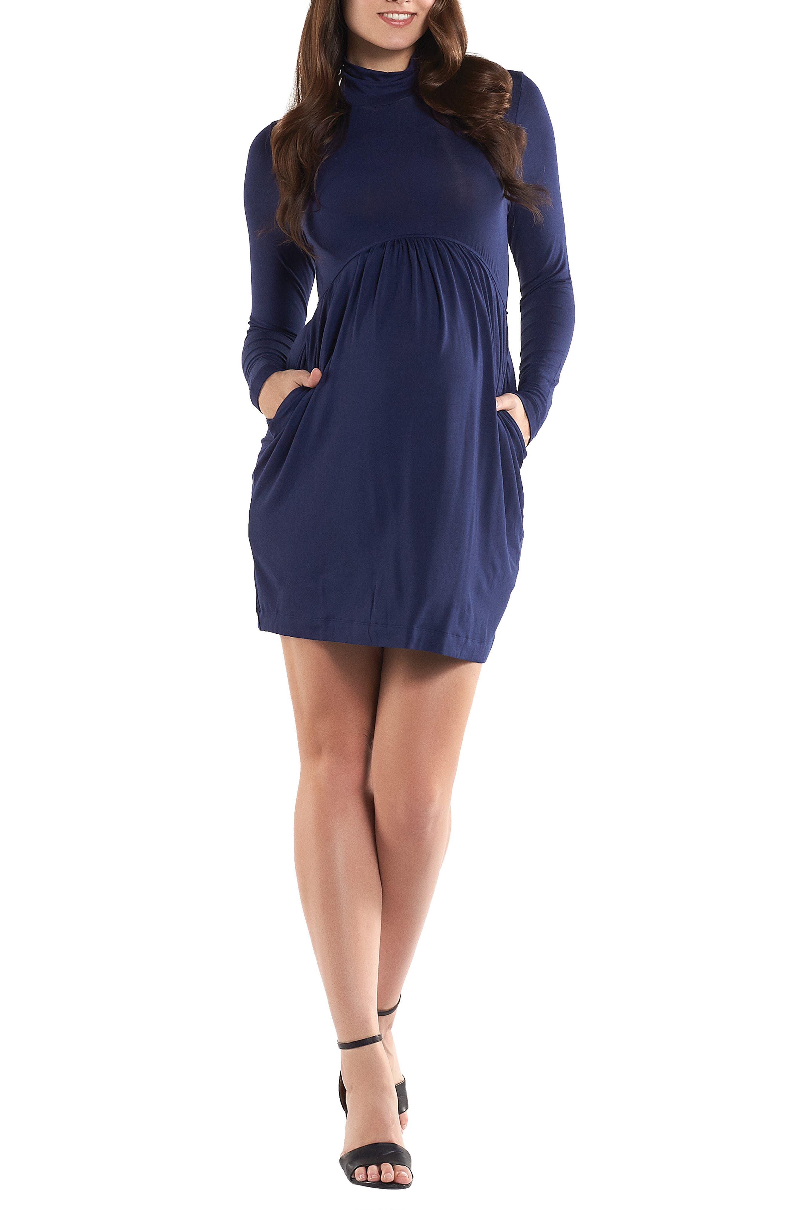 'Rhiannon' Turtleneck Fit & Flare Maternity Dress,                         Main,                         color, PEACOAT