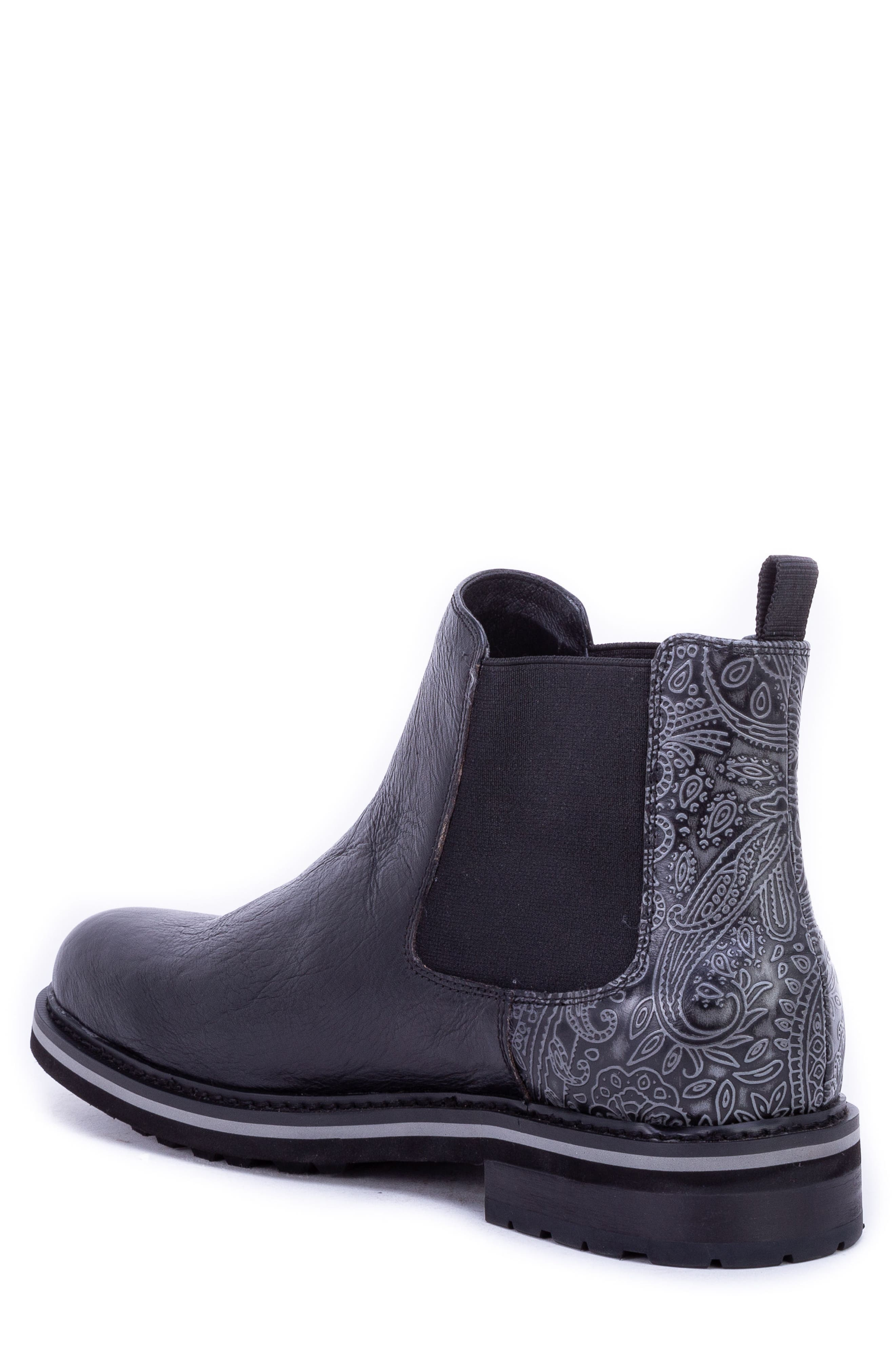 Yates Textured Chelsea Boot,                             Alternate thumbnail 2, color,                             BLACK LEATHER