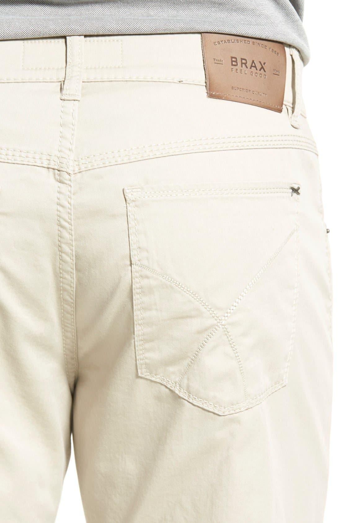 Flat Front Stretch Cotton Straight Leg Trousers,                             Alternate thumbnail 4, color,                             PAPER