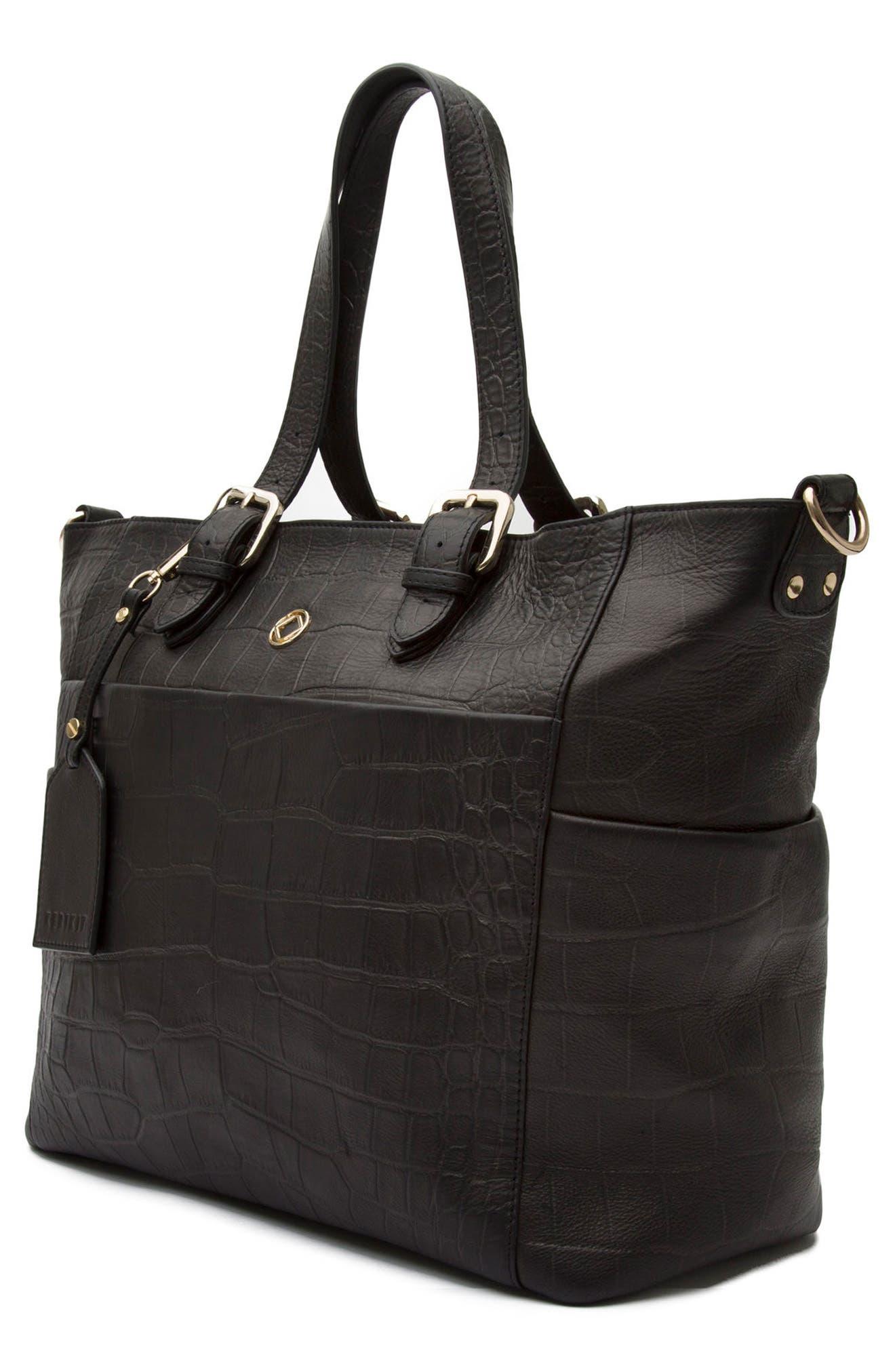 Francis Croc Embossed Leather Diaper Bag,                             Alternate thumbnail 5, color,                             001