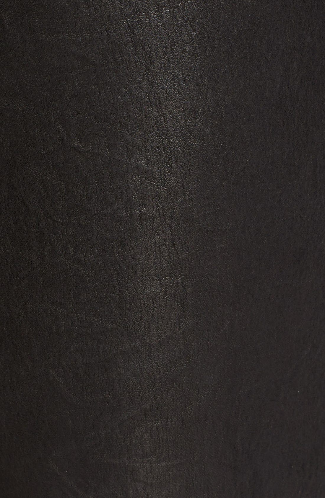 'Le Skinny' Lambskin Leather Pants,                             Alternate thumbnail 6, color,                             WASHED BLACK