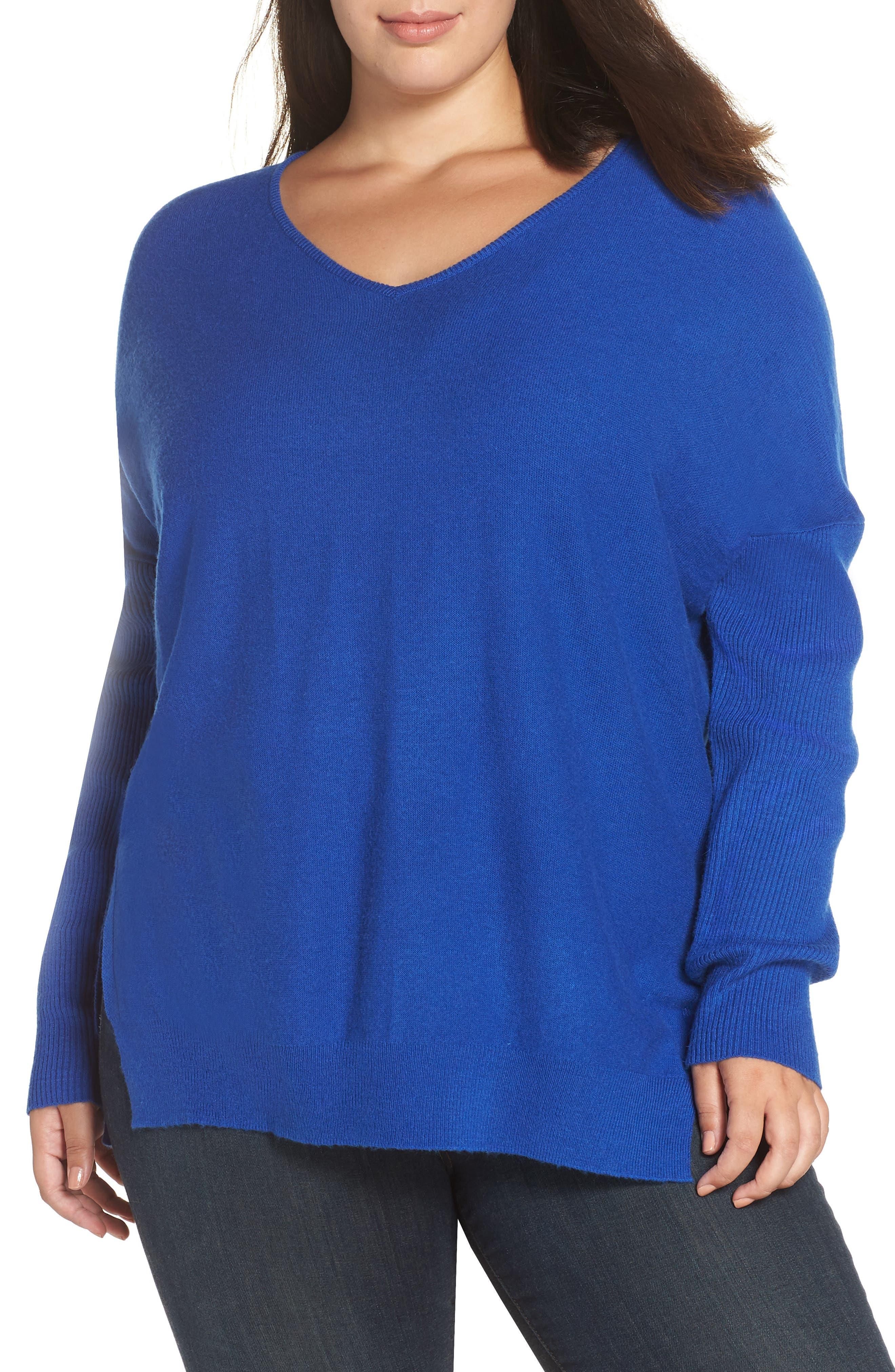 GLAMOROUS Split Side Sweater in Blue