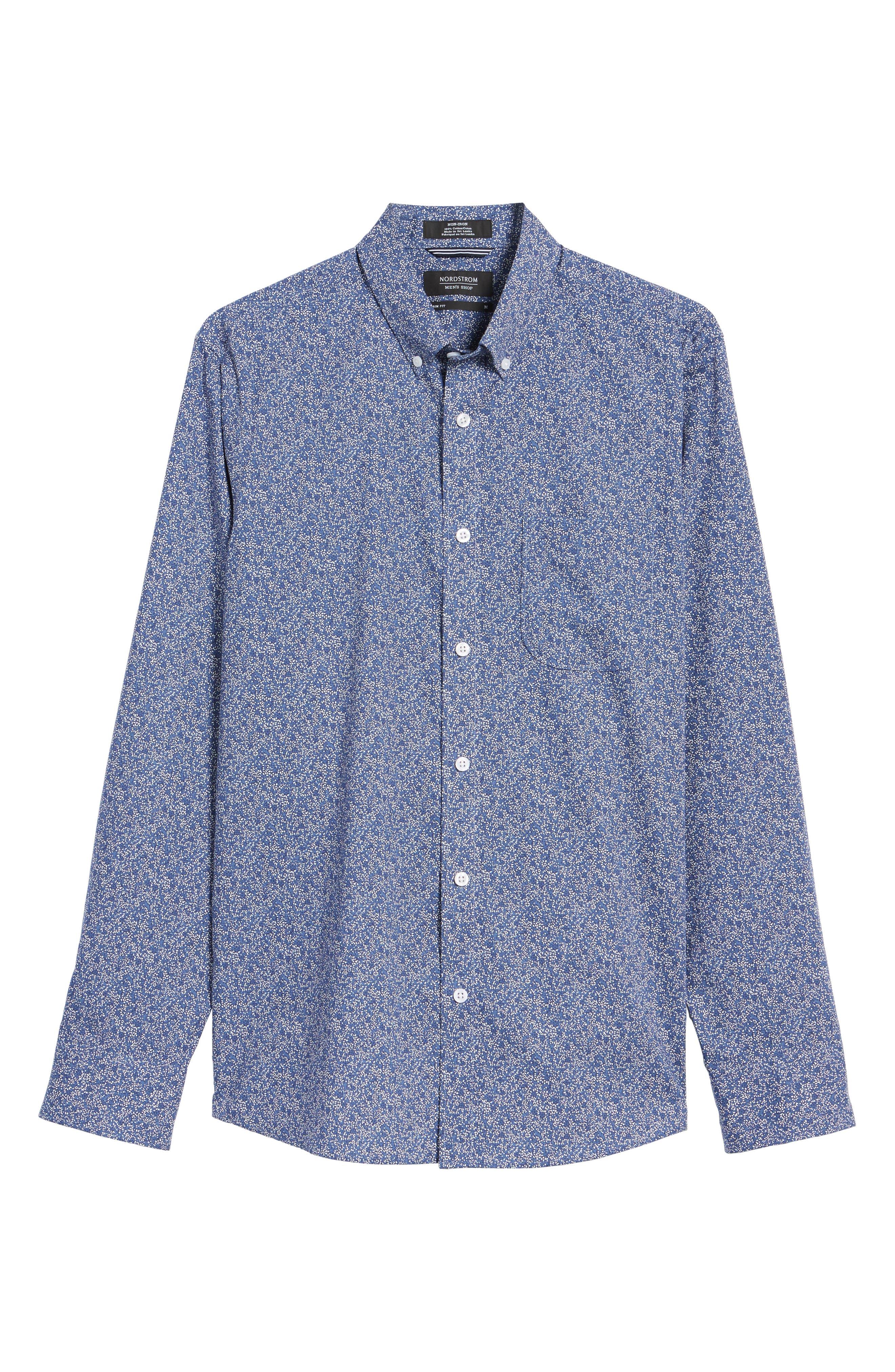 Slim Fit Floral Sport Shirt,                             Alternate thumbnail 6, color,                             410