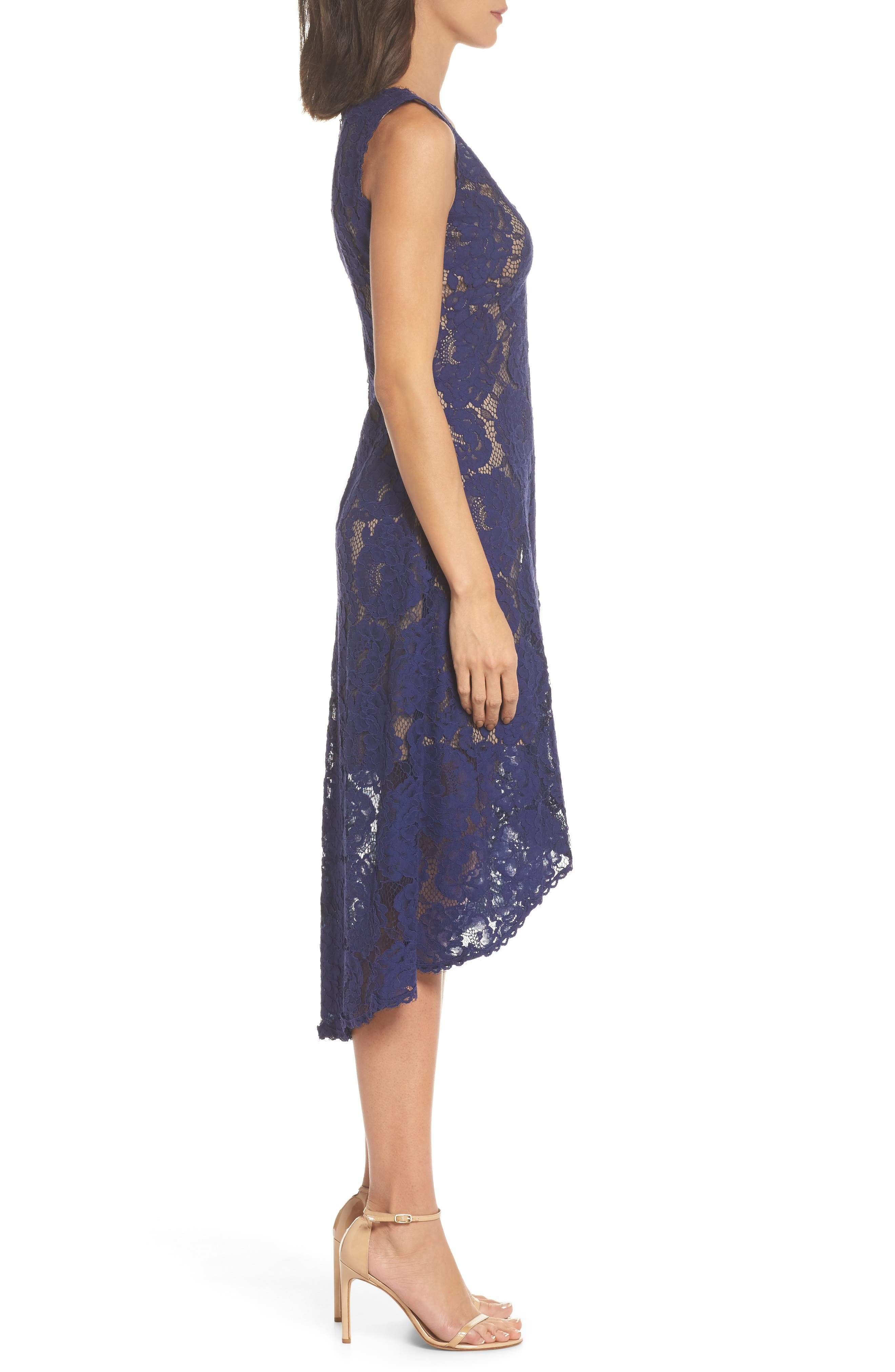 TADASHI SHOJI,                             High/Low Lace Dress,                             Alternate thumbnail 3, color,                             420