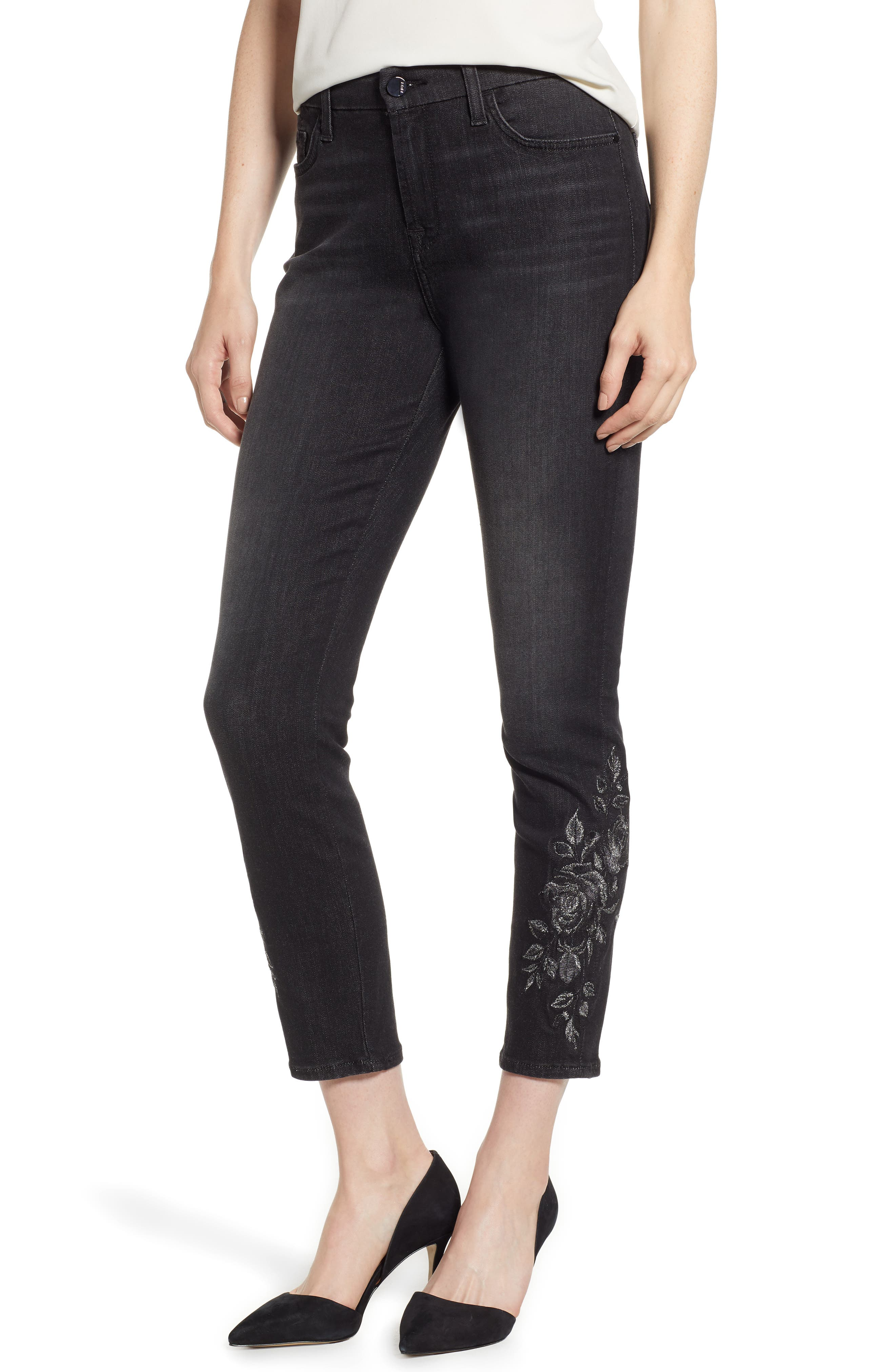 Metallic Floral-Embroidery Ankle Skinny Jeans in Riche Touch Aged Black