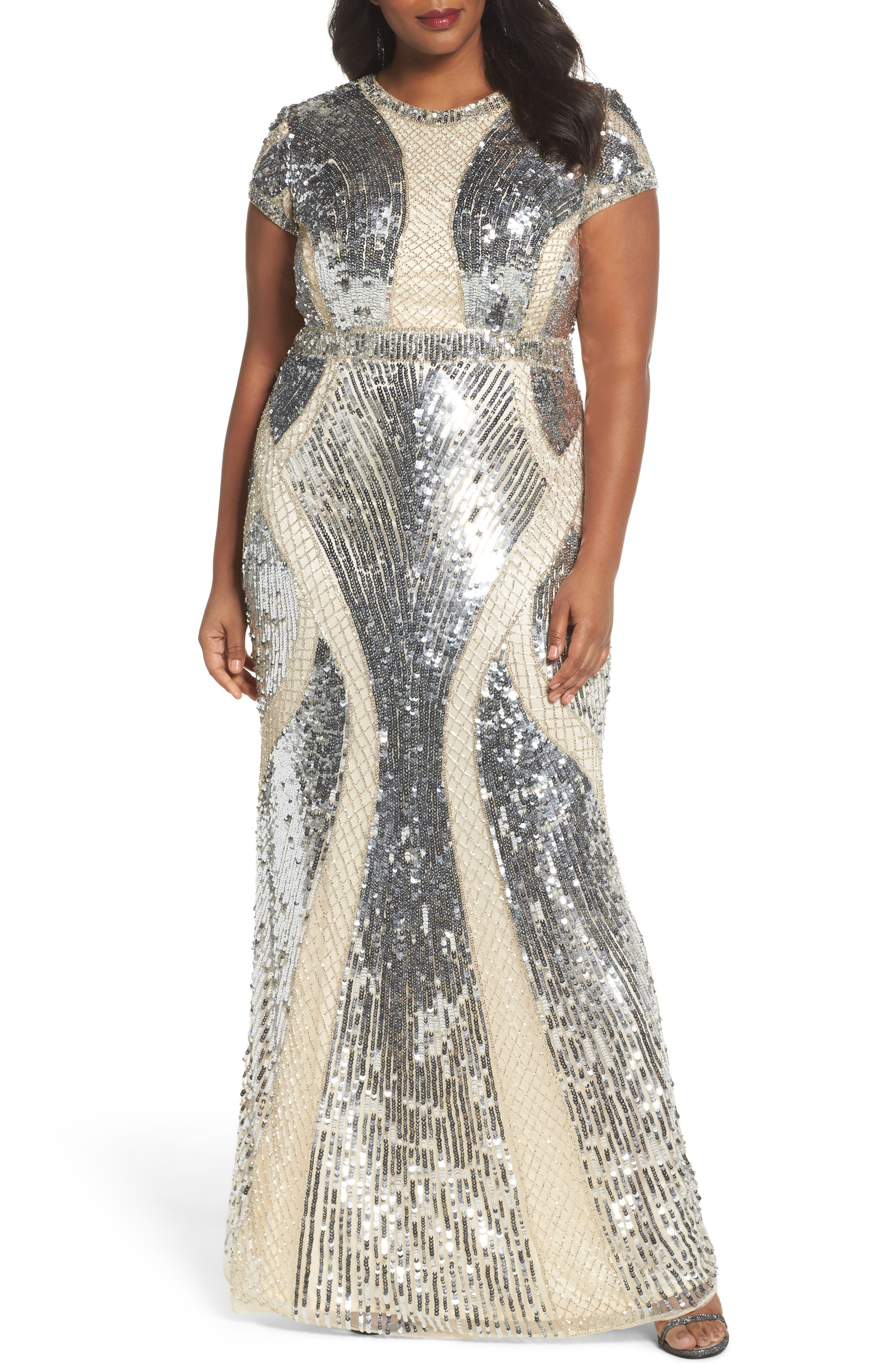 Jewel Neck Sequin Gown,                             Main thumbnail 1, color,                             SILVER/ NUDE