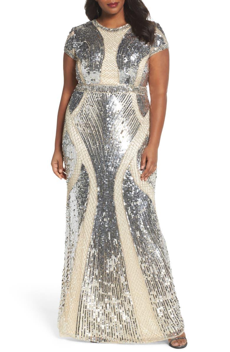 Mac Duggal Jewel Neck Sequin Gown (Plus Size)   Nordstrom