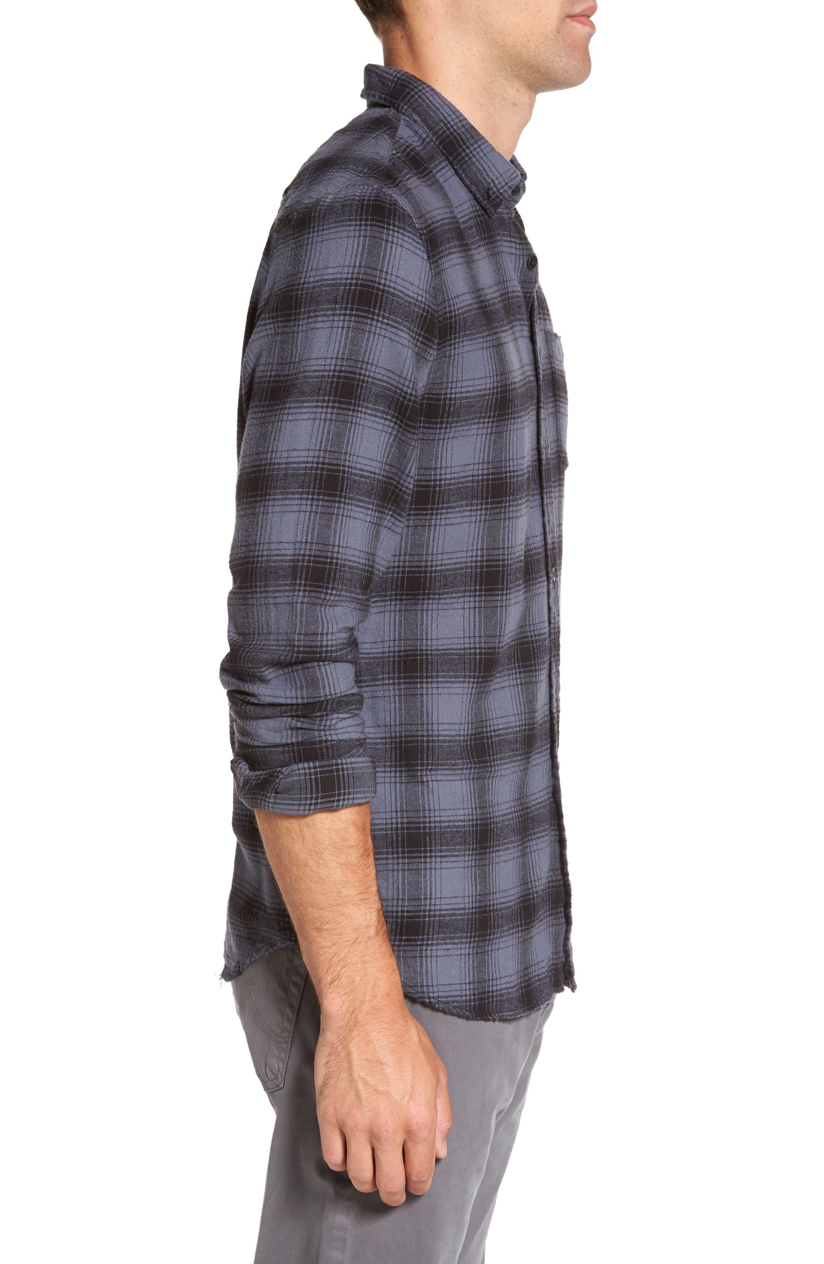 Grady Plaid Flannel Sport Shirt,                             Alternate thumbnail 3, color,                             008