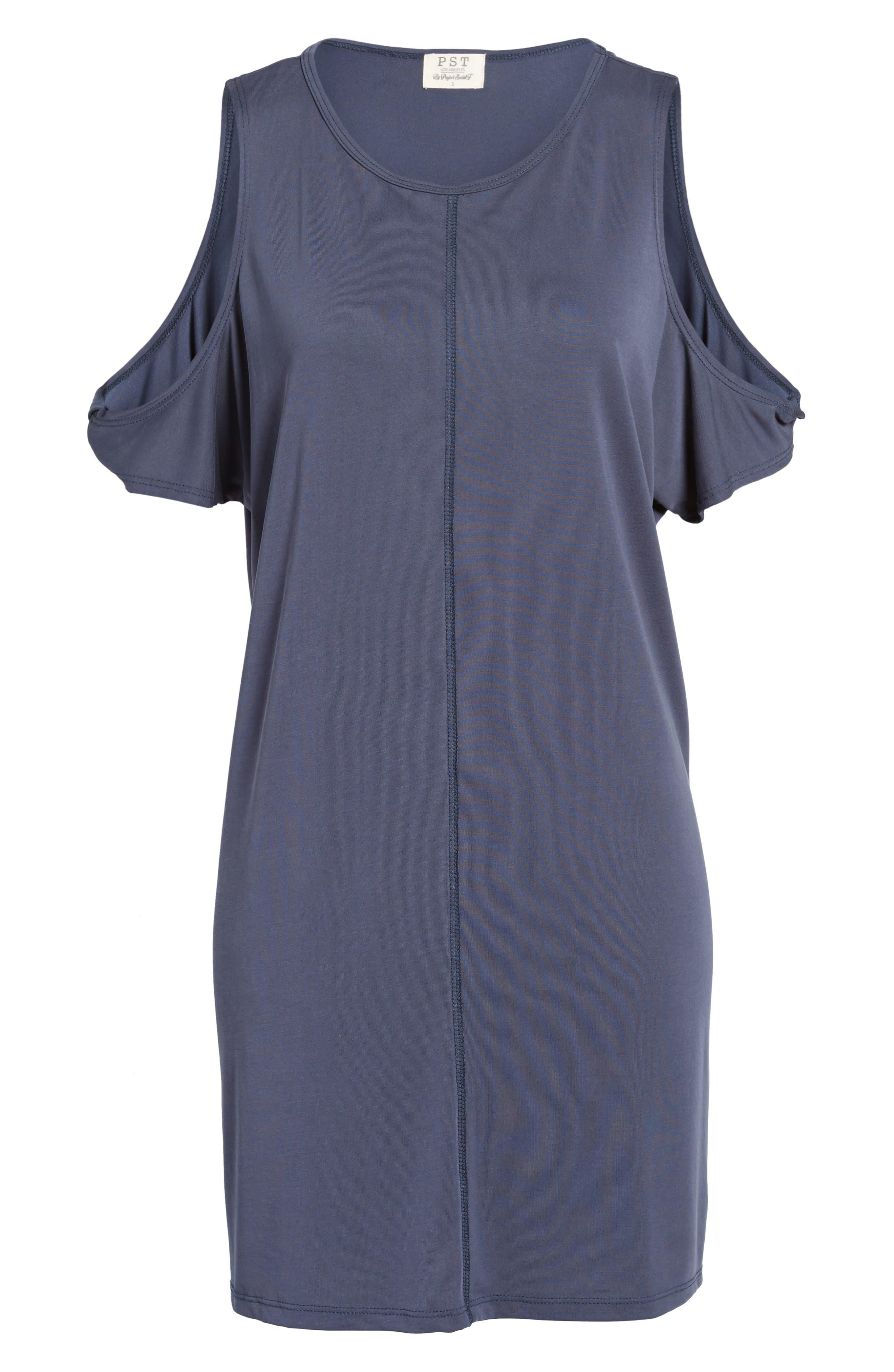 Twisted Cold Shoulder Dress,                             Alternate thumbnail 6, color,                             400