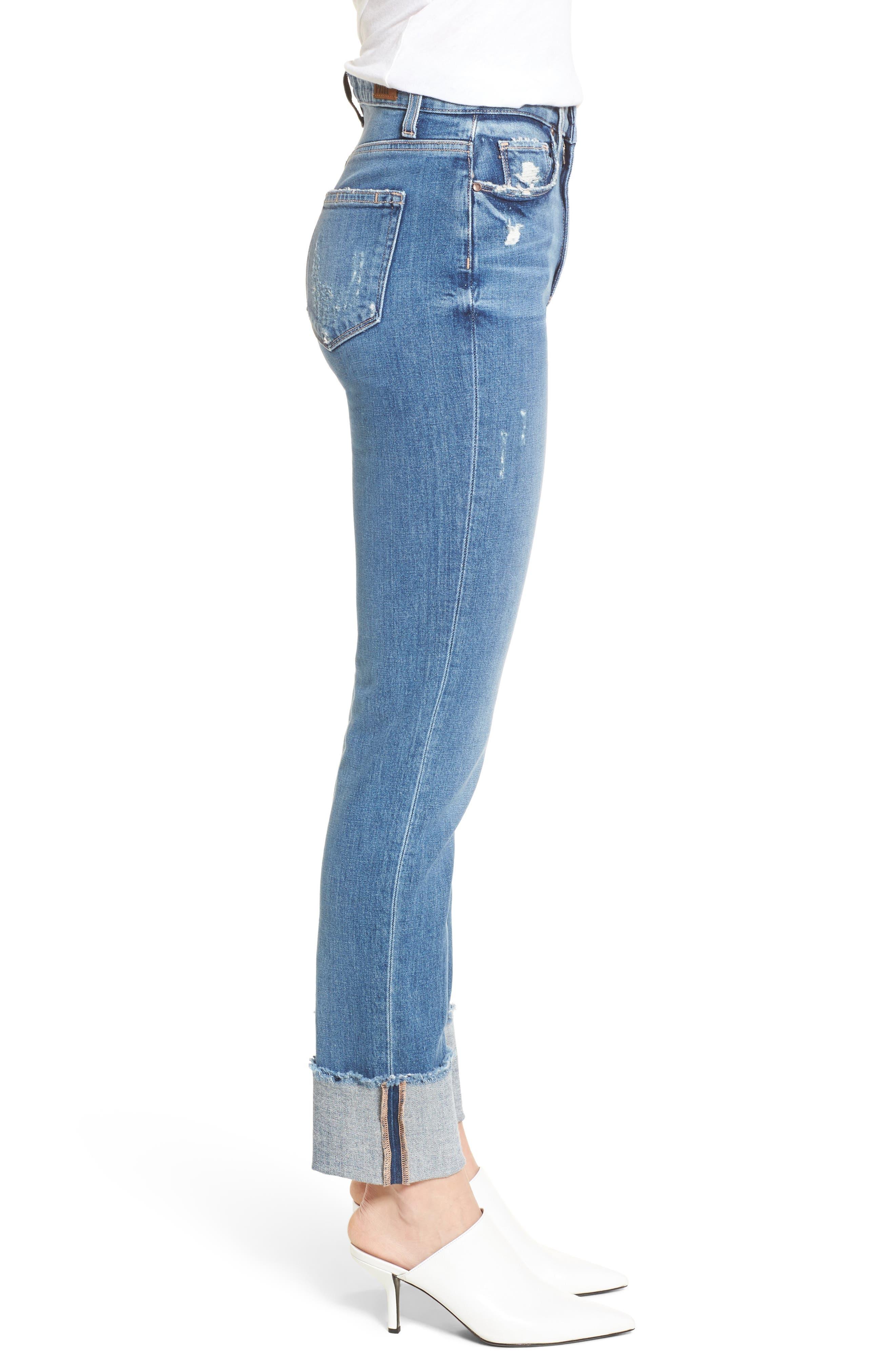 Sarah High Waist Straight Leg Jeans,                             Alternate thumbnail 3, color,                             400