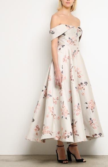 Metallic Floral Jacquard Off the Shoulder Dress, video thumbnail