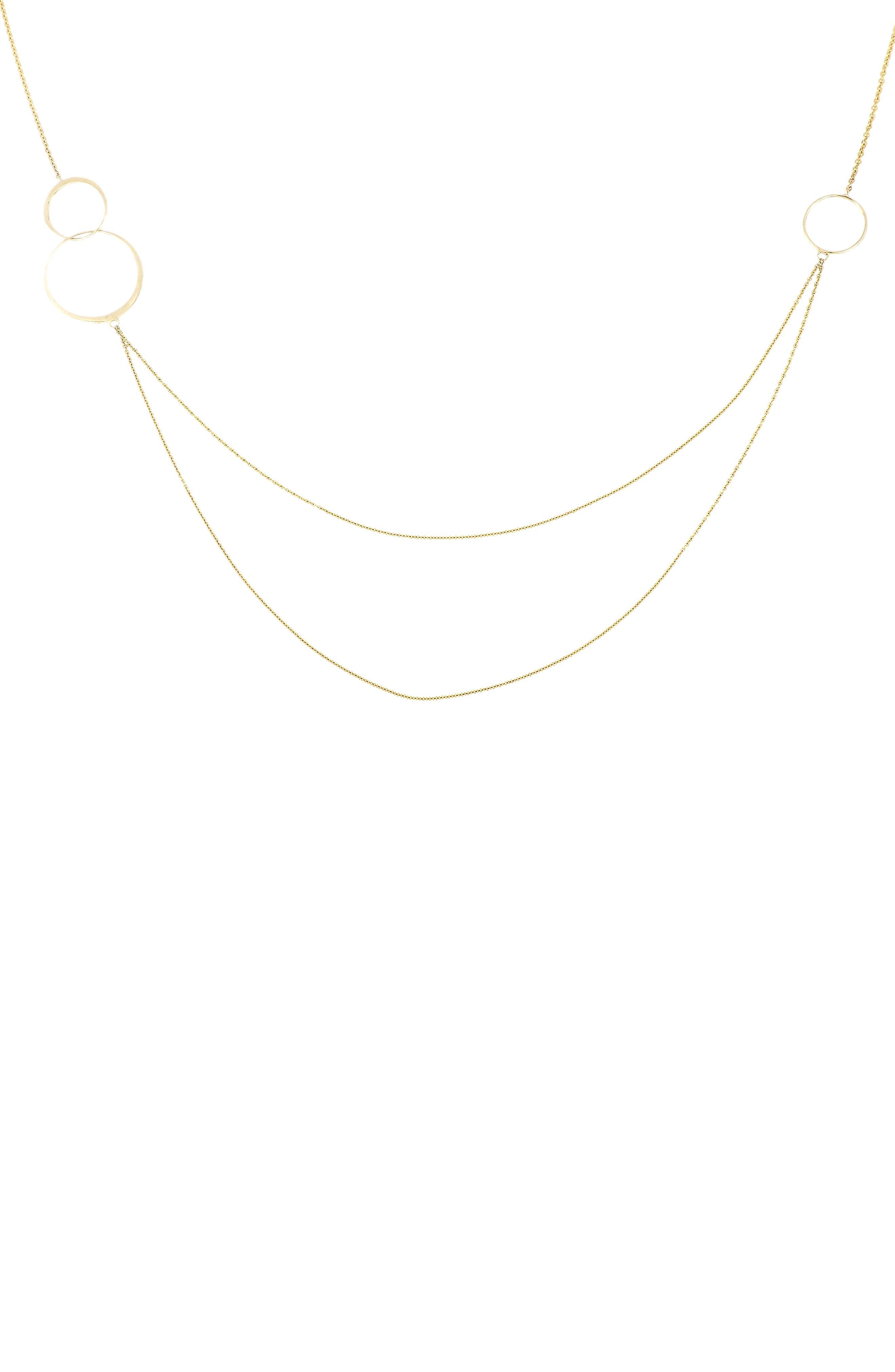 Circle Trio Layered Necklace,                             Main thumbnail 1, color,                             YELLOW GOLD