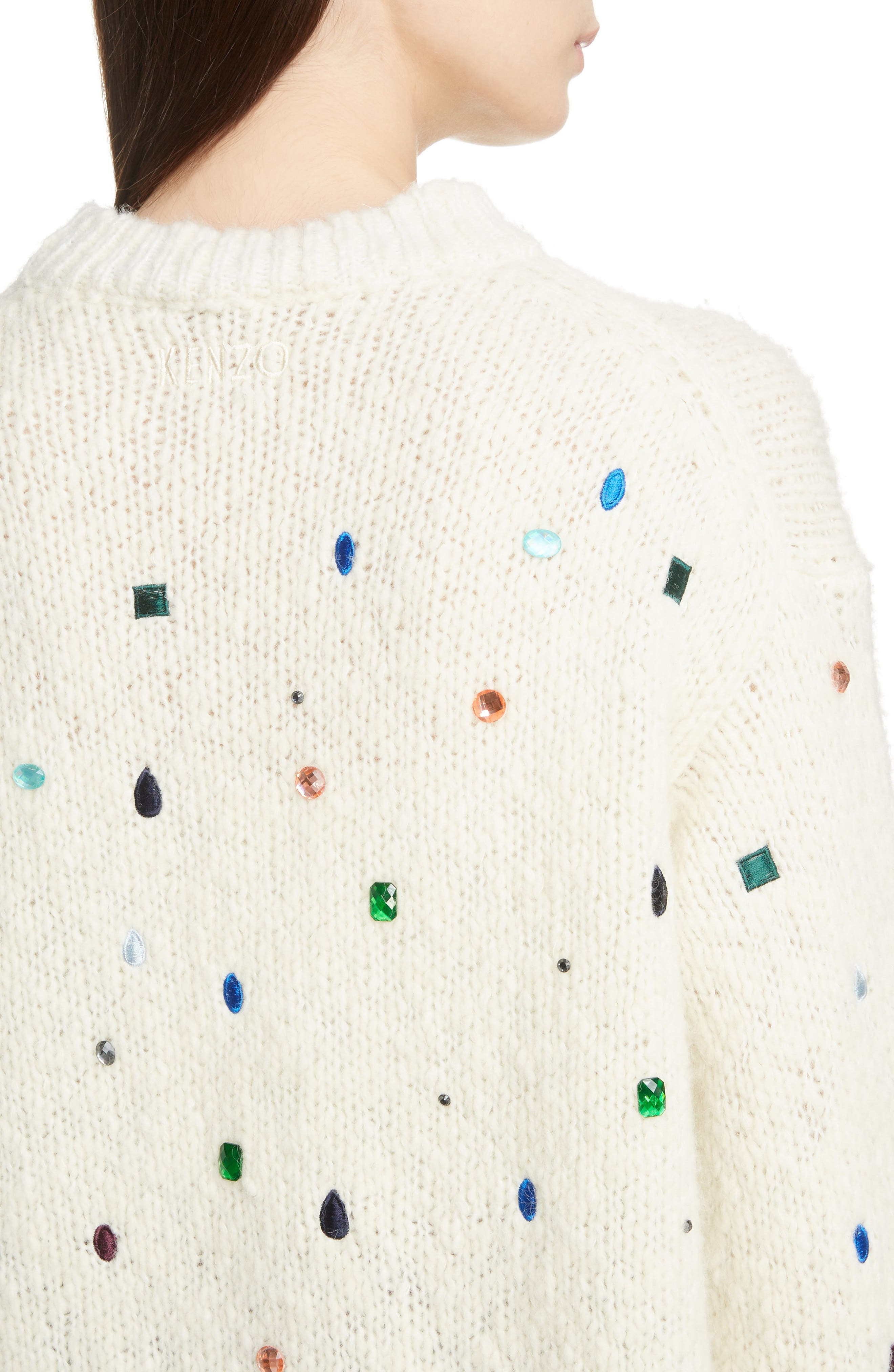 Embellished Comfort Sweater,                             Alternate thumbnail 4, color,                             WHITE