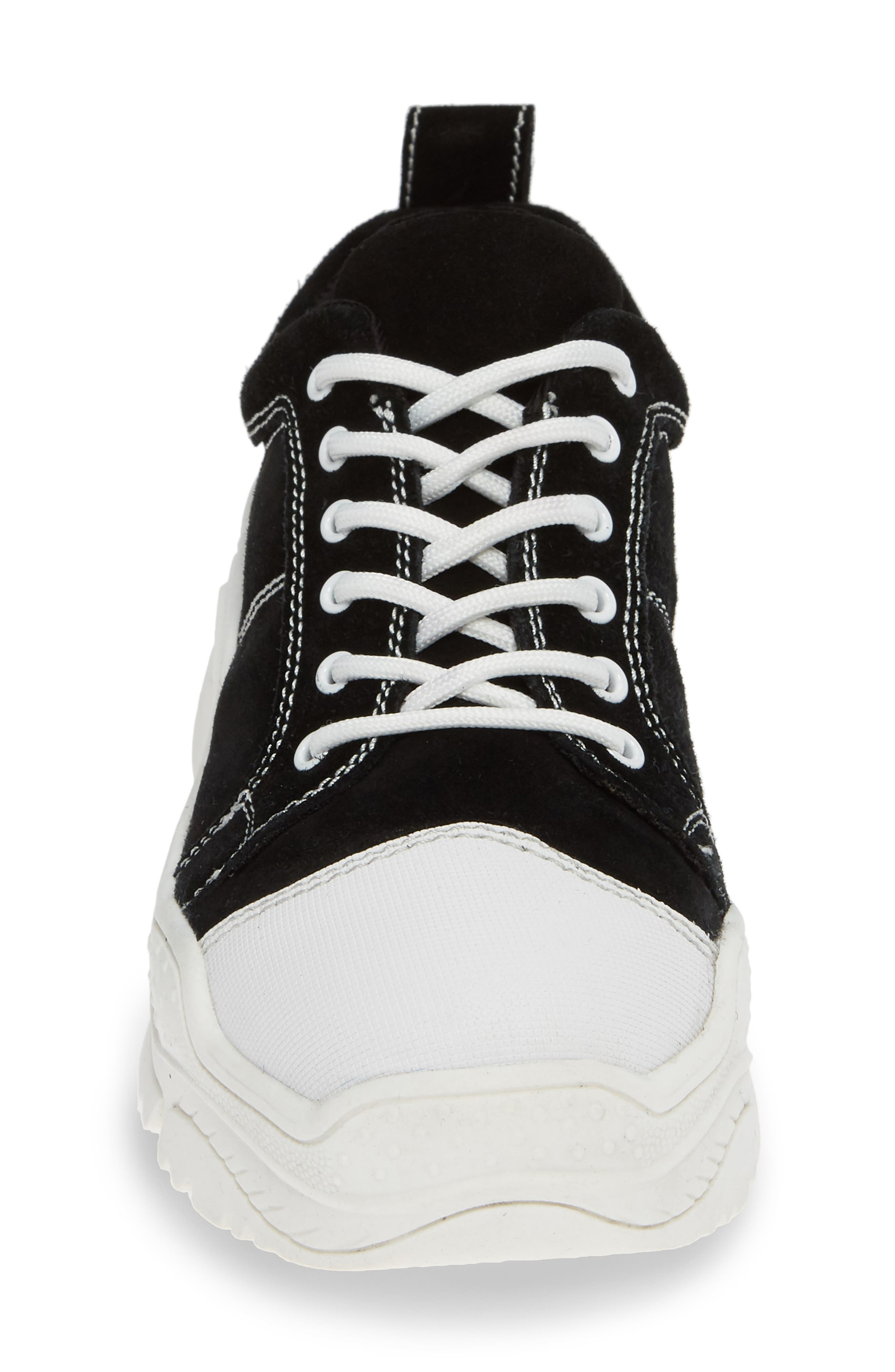 JEFFREY CAMPBELL,                             Remnant Sneaker,                             Alternate thumbnail 4, color,                             BLACK SUEDE WHITE
