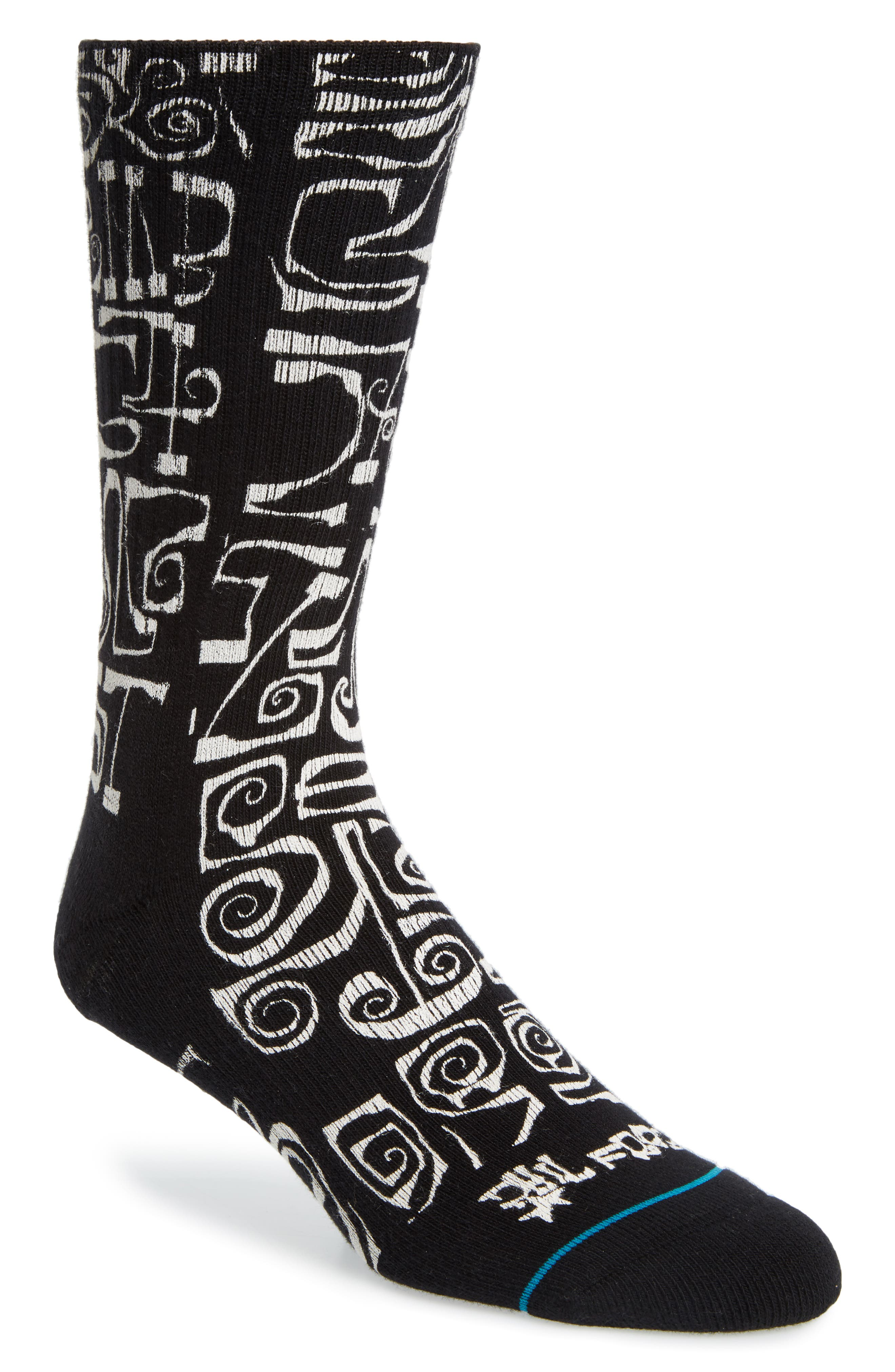 Frost Letters Socks,                         Main,                         color, BLACK