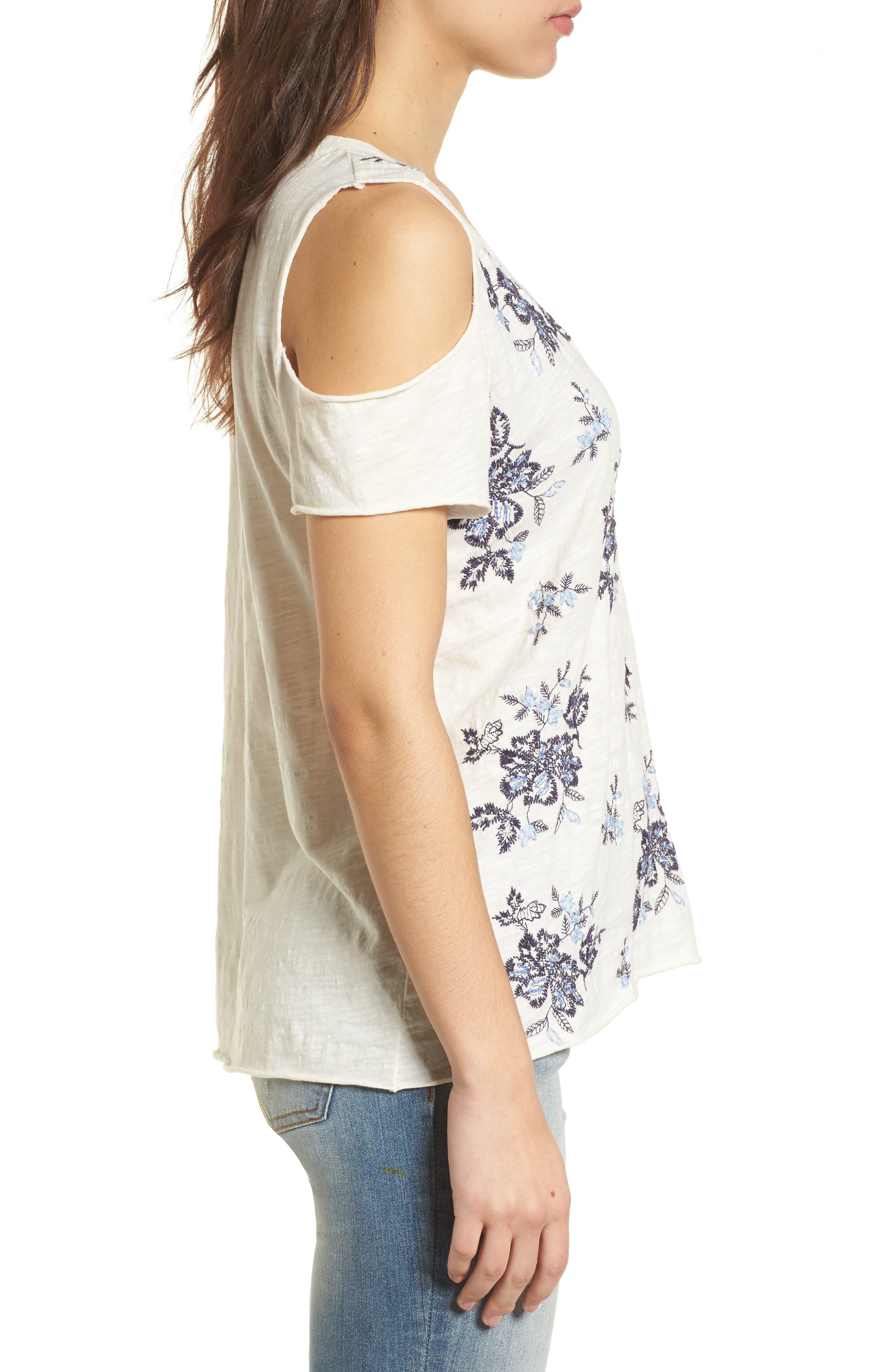 Floral Embroidered Cold Shoulder Top,                             Alternate thumbnail 3, color,                             460