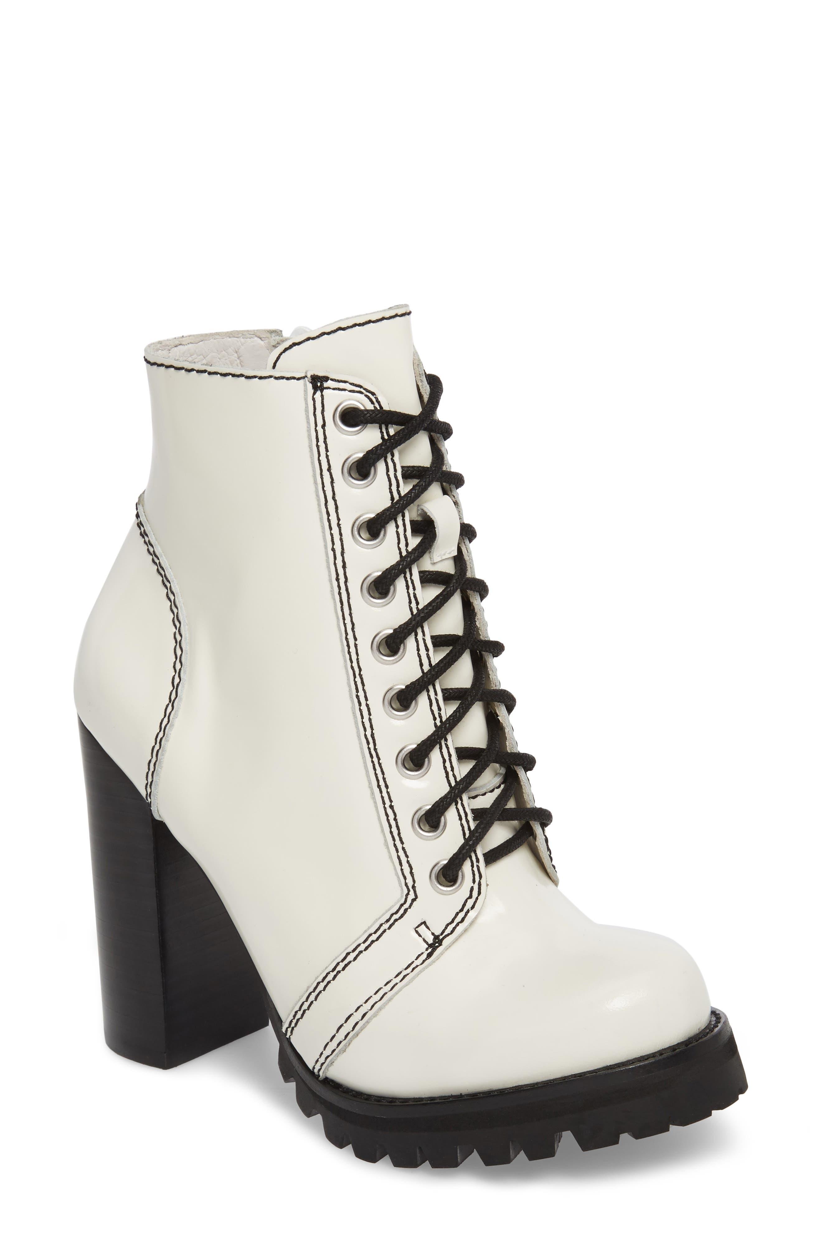 'Legion' High Heel Boot,                             Main thumbnail 1, color,                             WHITE BOX BLACK