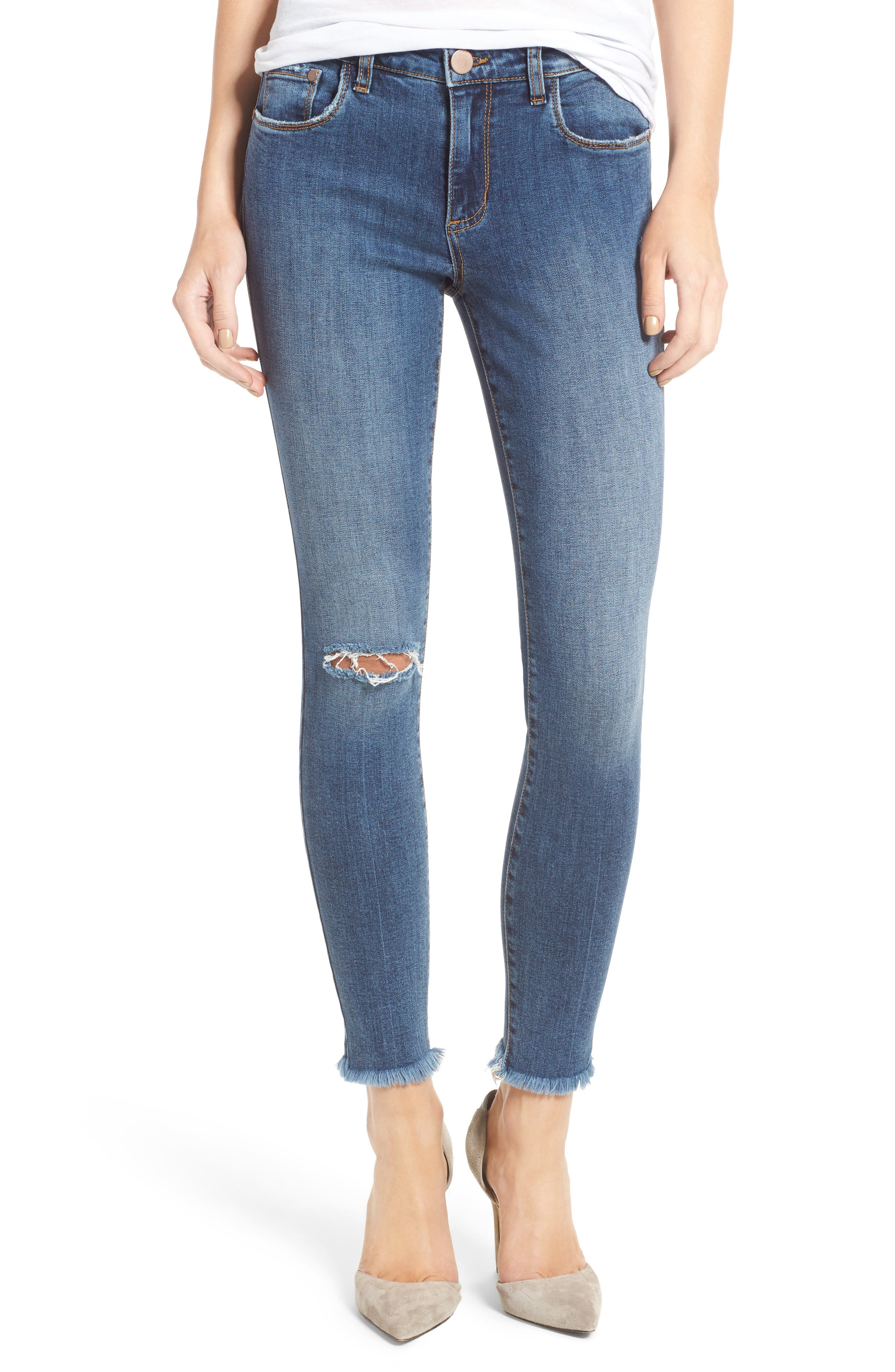 Ripped Skinny Ankle Jeans, Main, color, 400