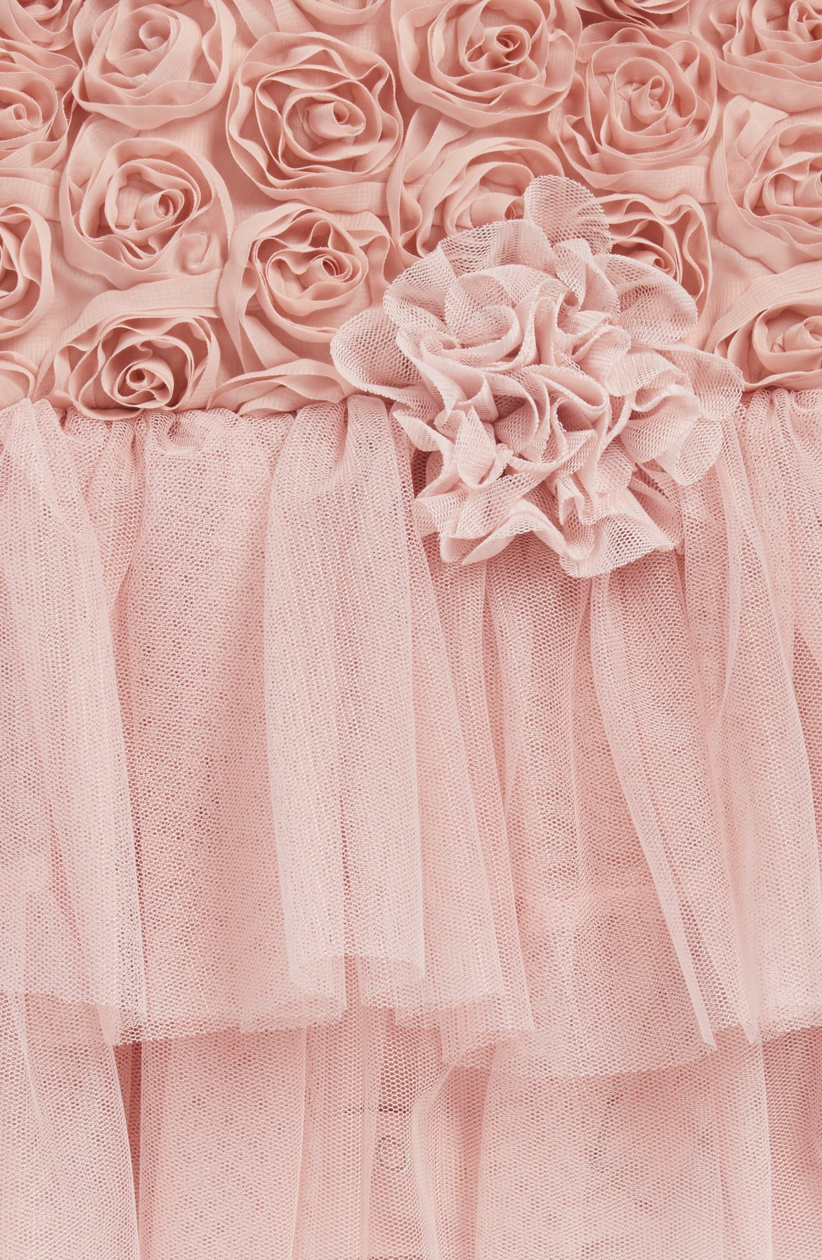 Rosette Tulle Dress,                             Alternate thumbnail 2, color,                             DUSTY PINK