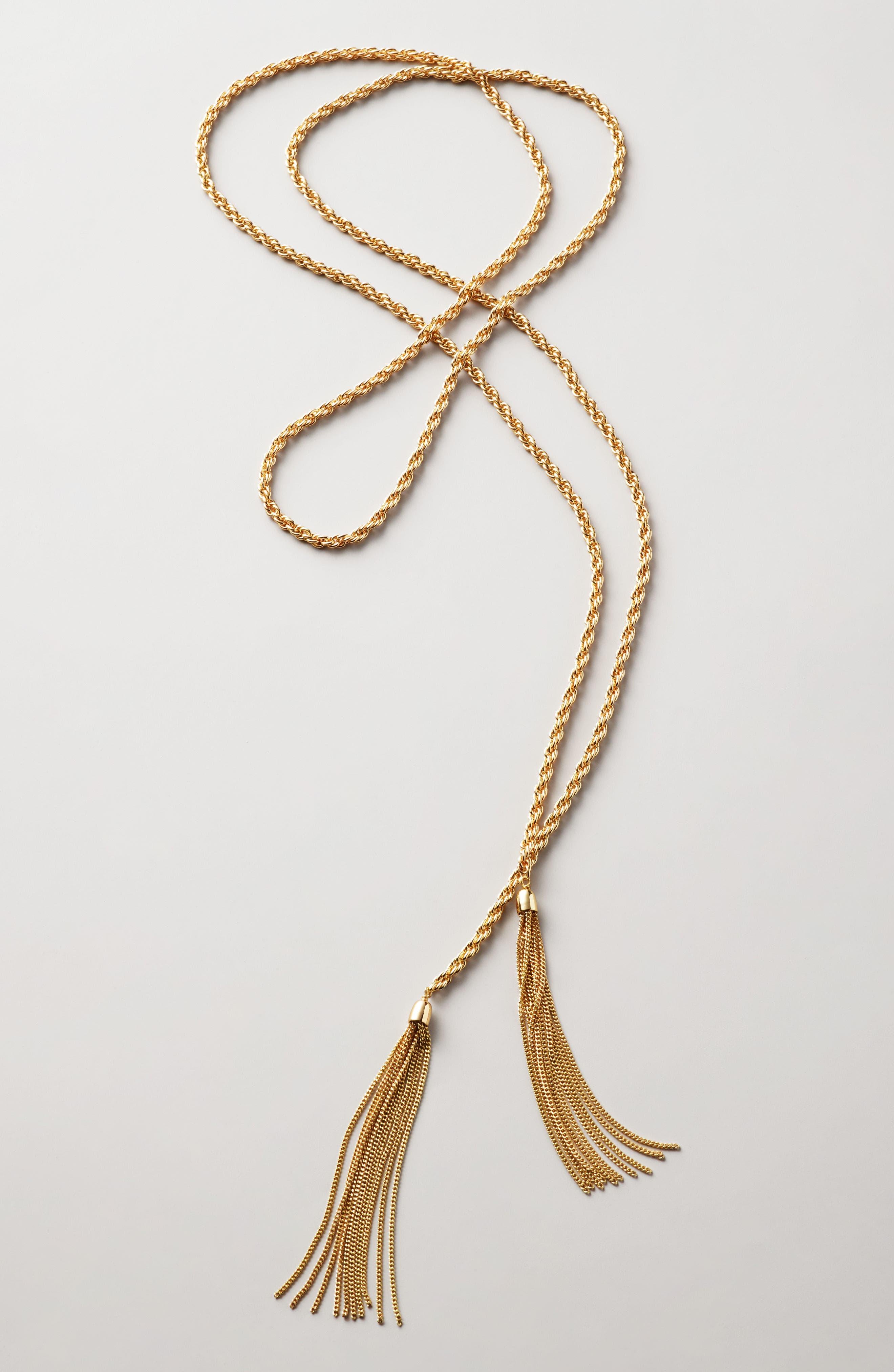Fine Chain Tassel Lariat Necklace,                             Alternate thumbnail 3, color,                             040