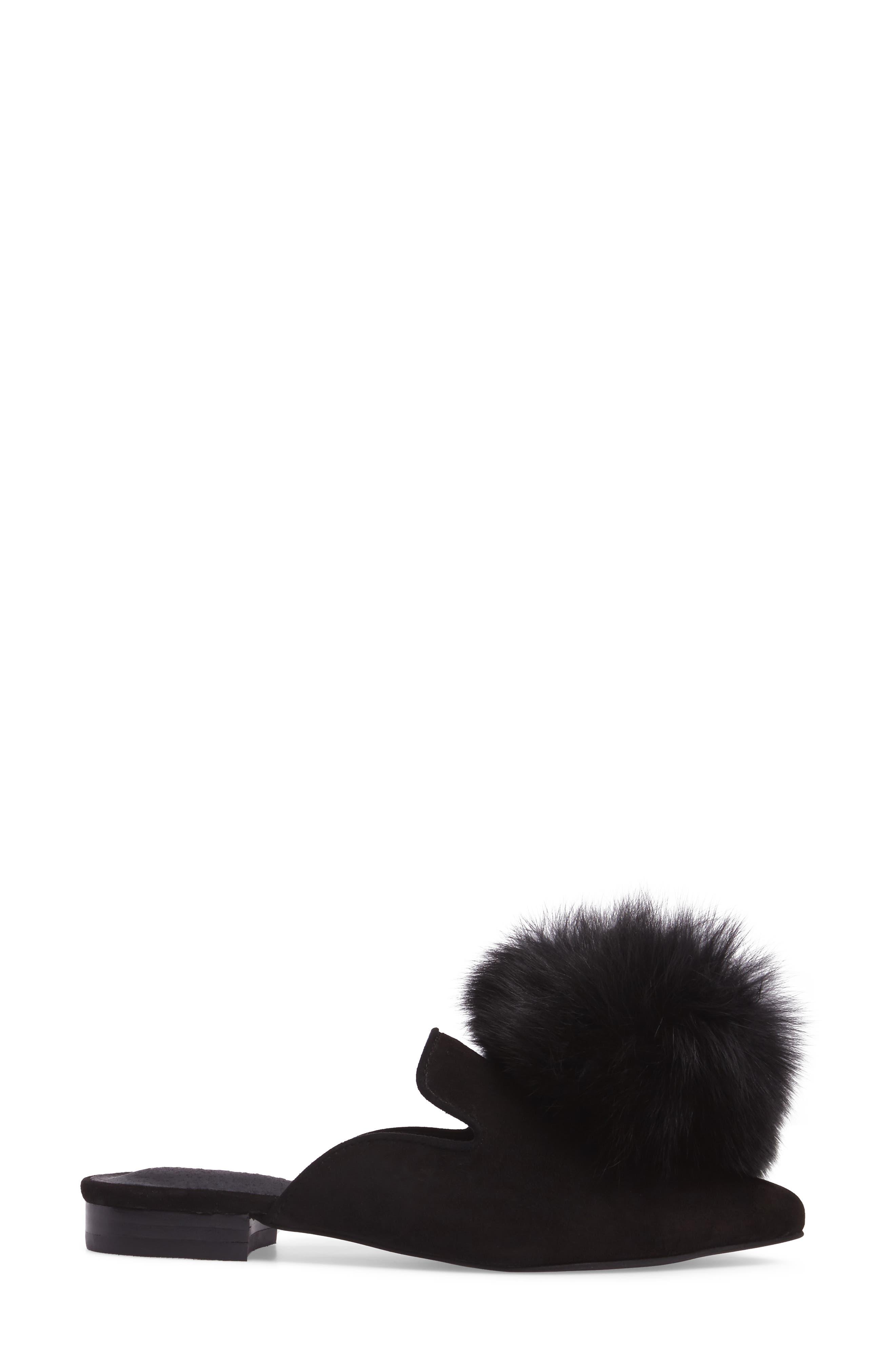 Claes Genuine Fur Pompom Mule,                             Alternate thumbnail 3, color,                             007