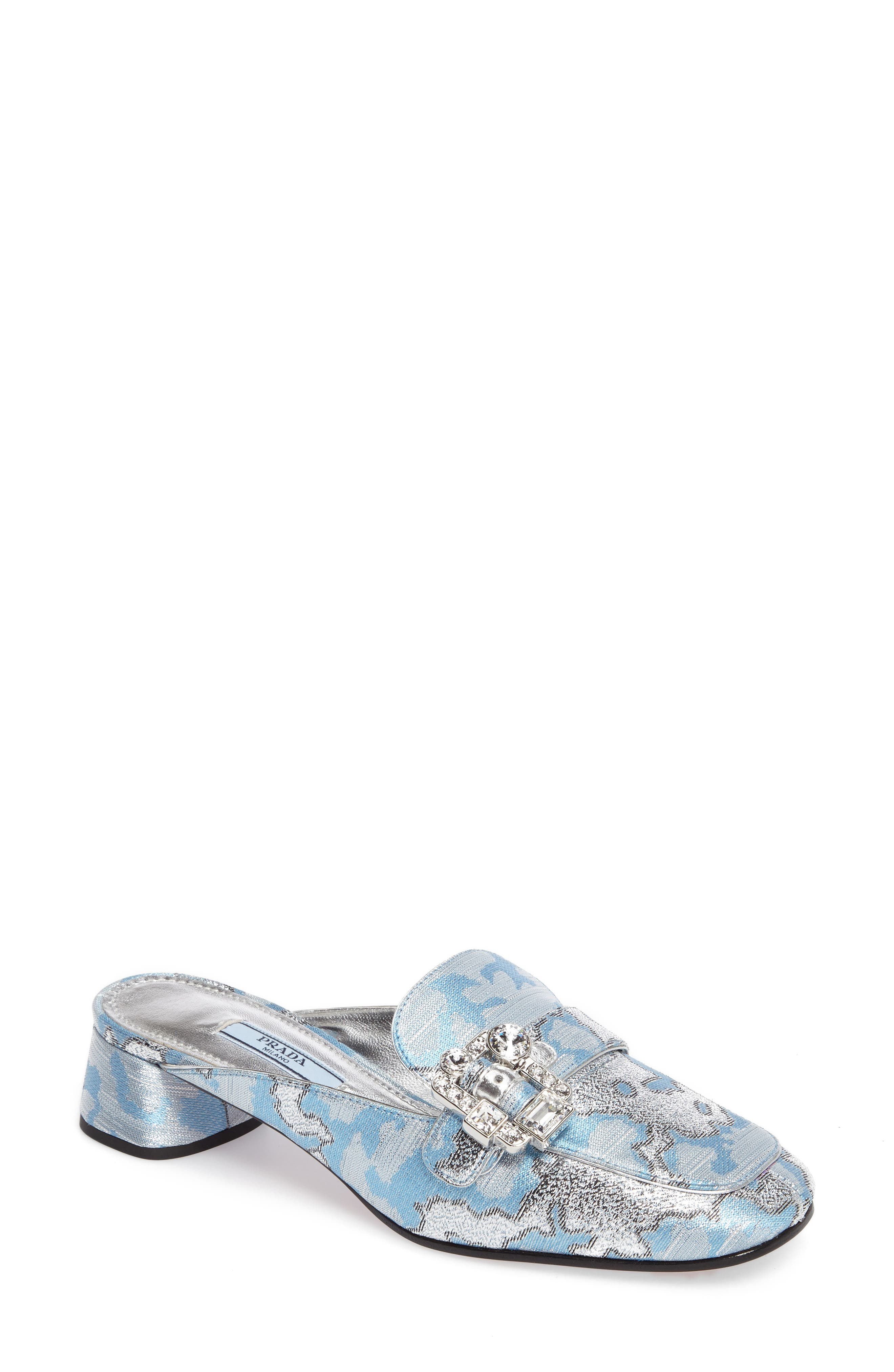 Crystal Buckle Loafer Mule,                             Main thumbnail 1, color,                             425