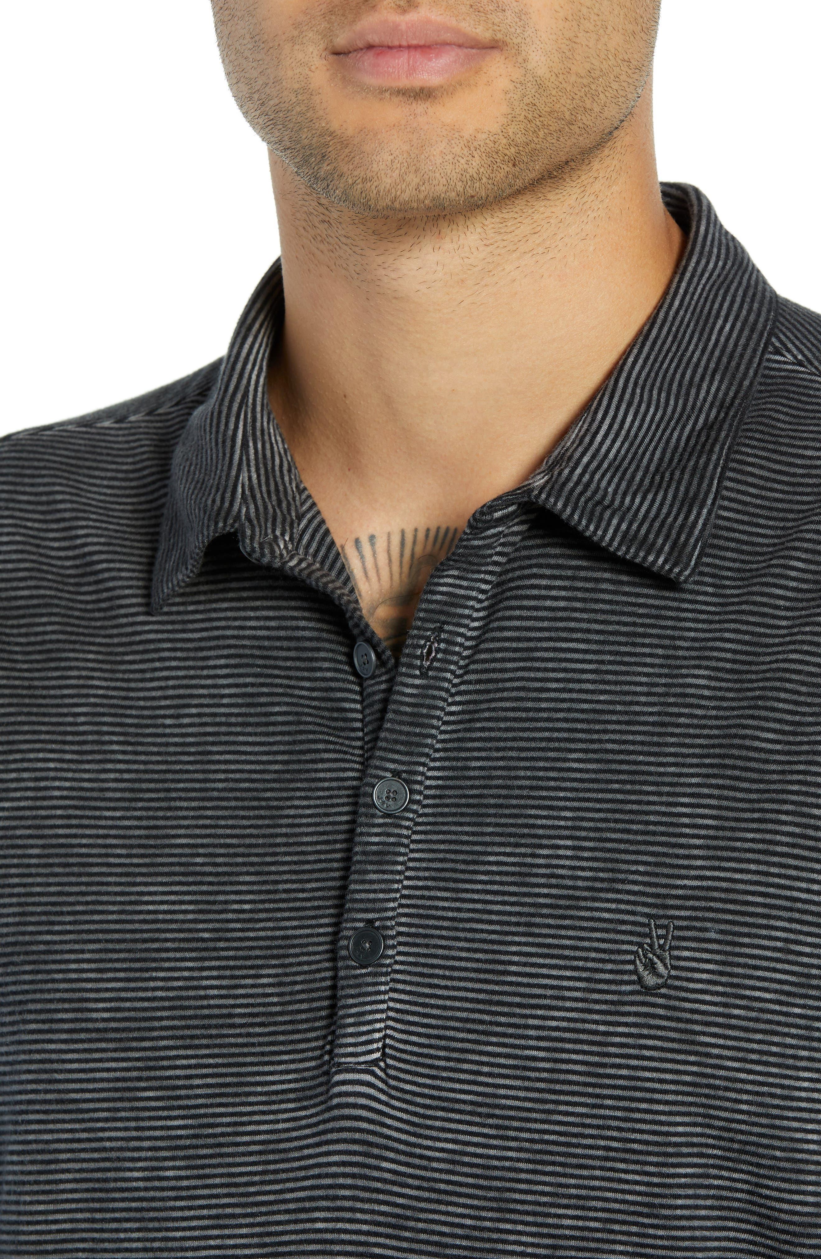 Striped Long Sleeve Polo,                             Alternate thumbnail 4, color,                             DARK GREY HEATHER