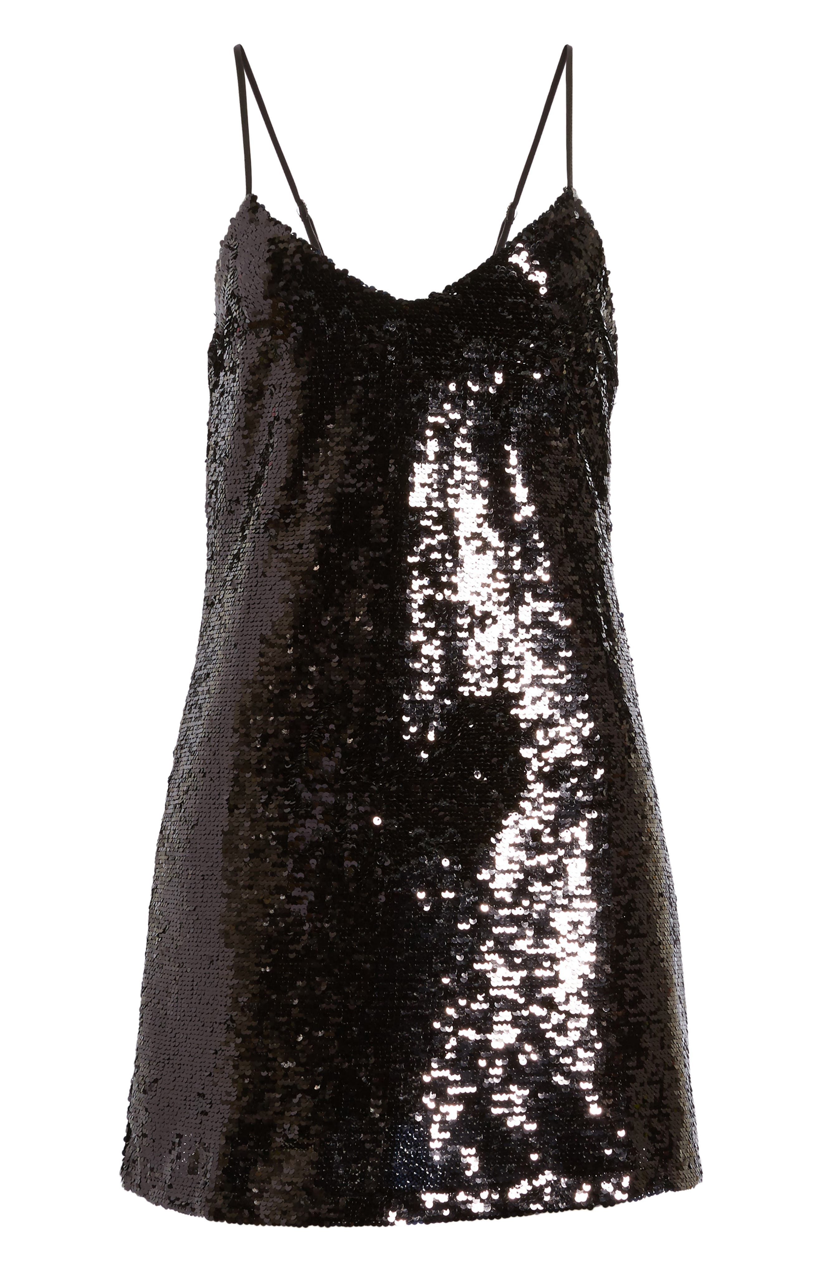 Bigby Sequin Slipdress,                             Alternate thumbnail 6, color,                             001