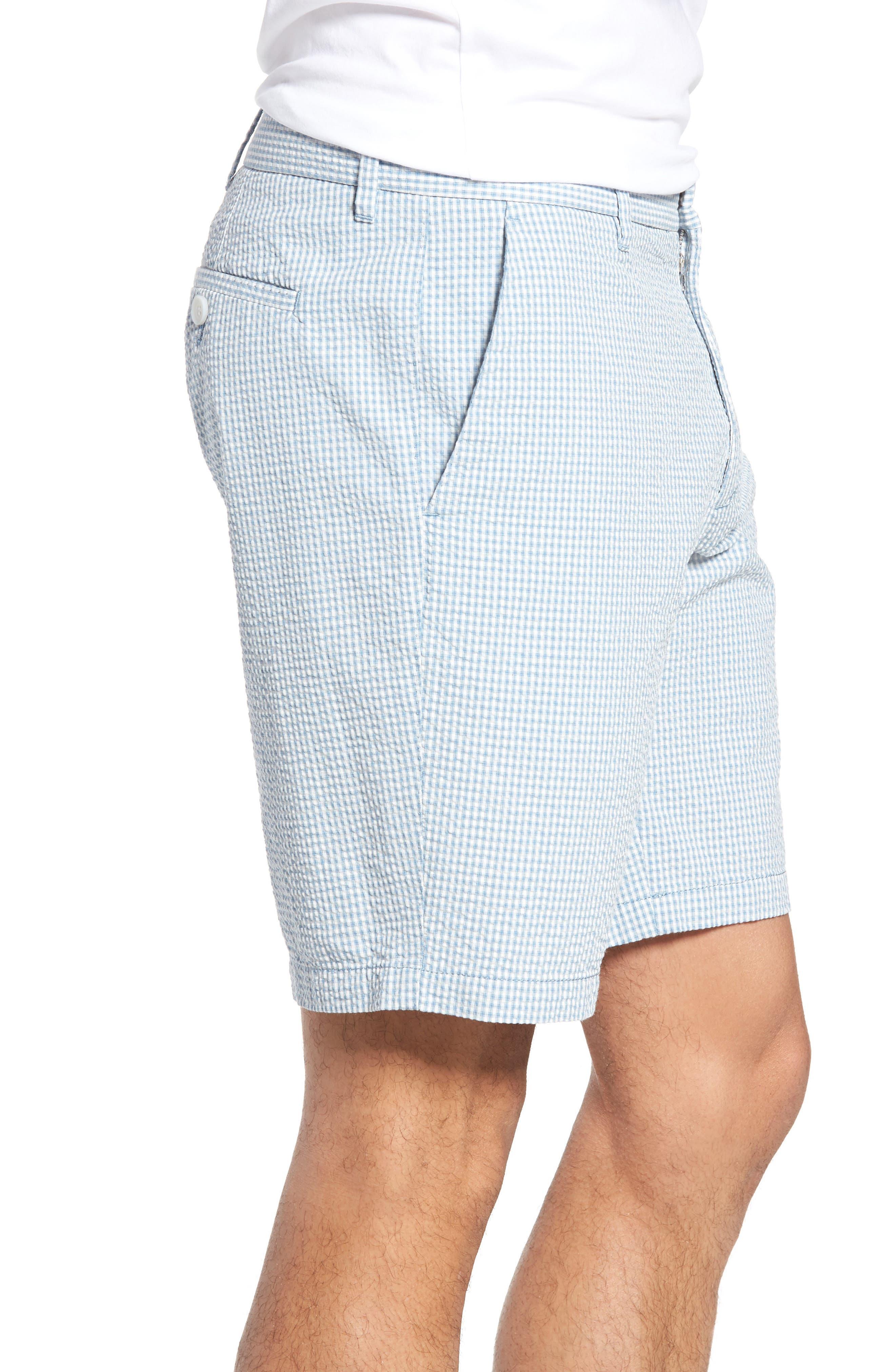 Fringe Check Seersucker Shorts,                             Alternate thumbnail 3, color,                             400