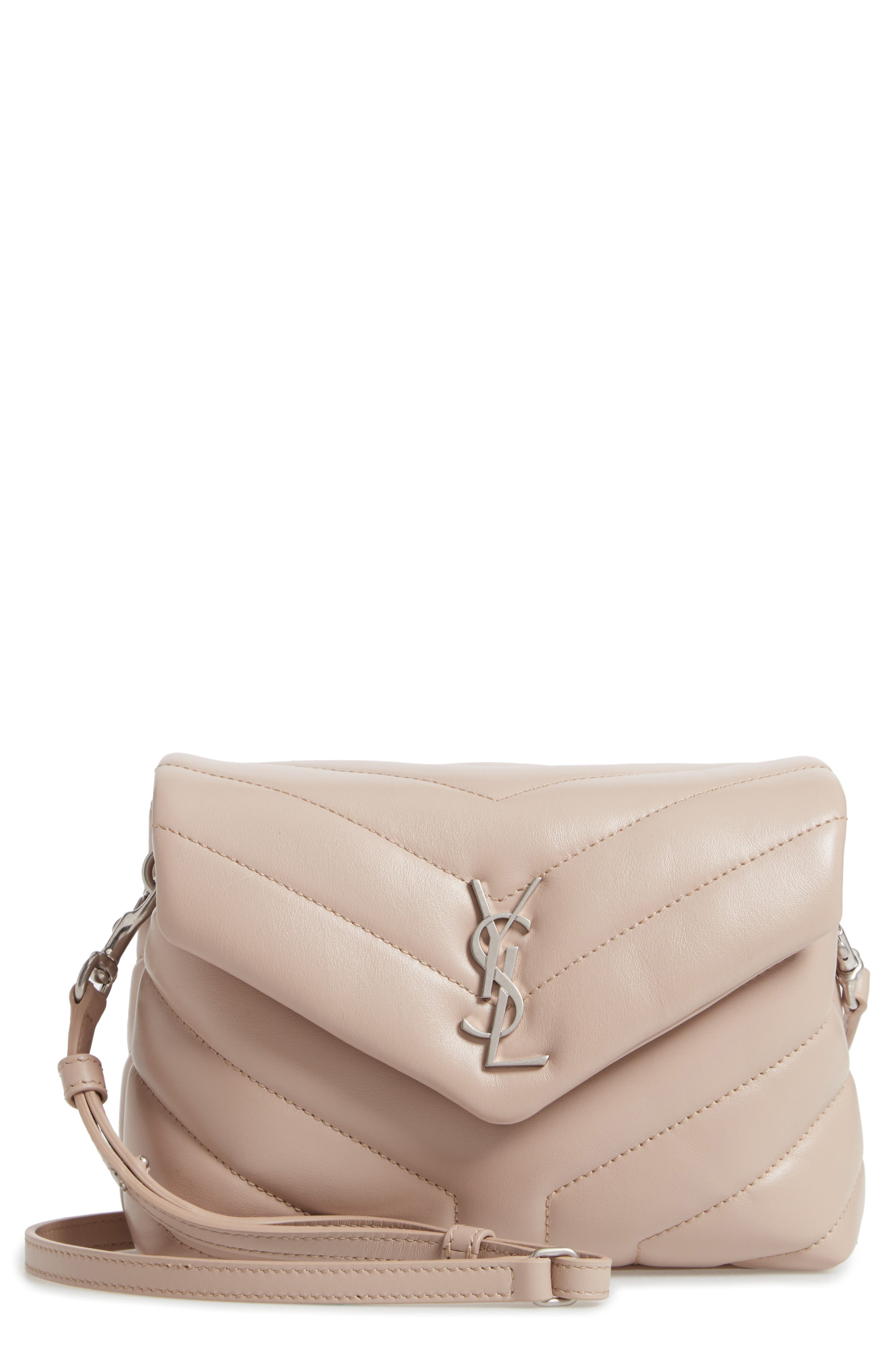 Toy Loulou Calfskin Leather Crossbody Bag in Light Natural