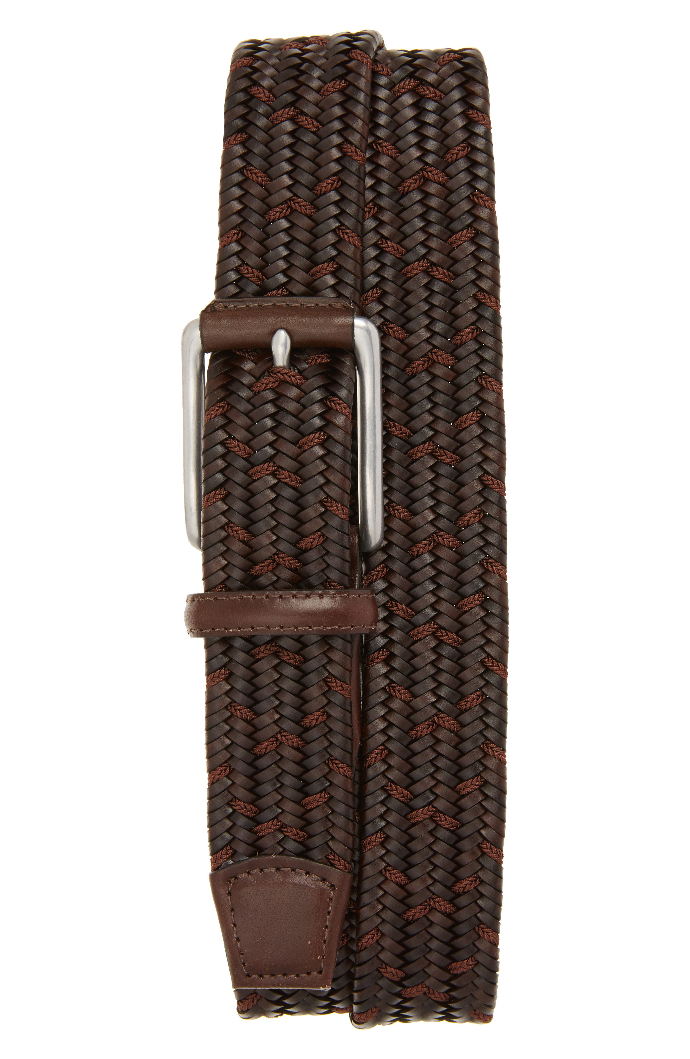 Woven Mixed Media Belt,                         Main,                         color, BROWN/ COCOA