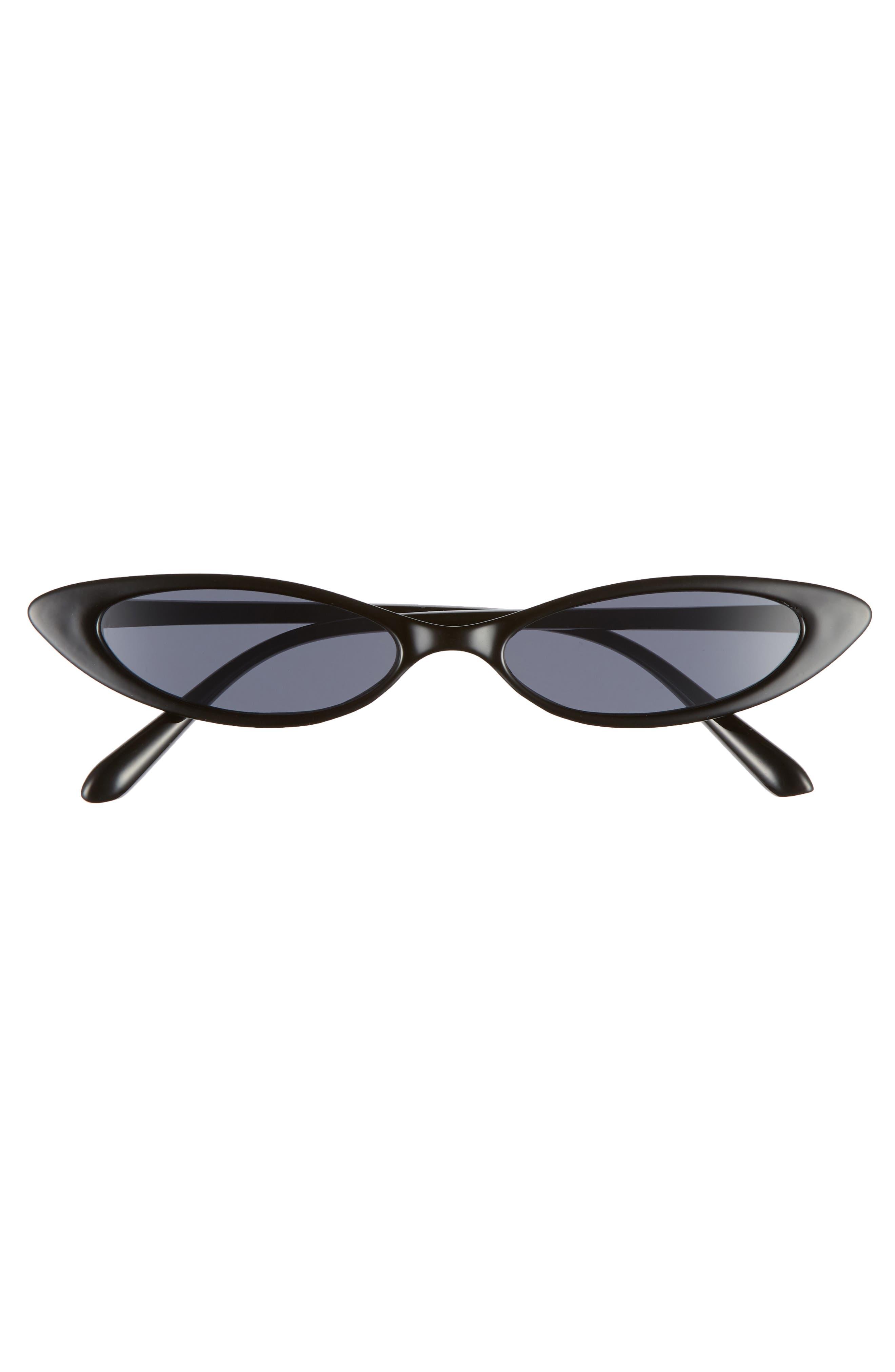 55mm Mini Cat Eye Sunglasses,                             Alternate thumbnail 3, color,                             BLACK