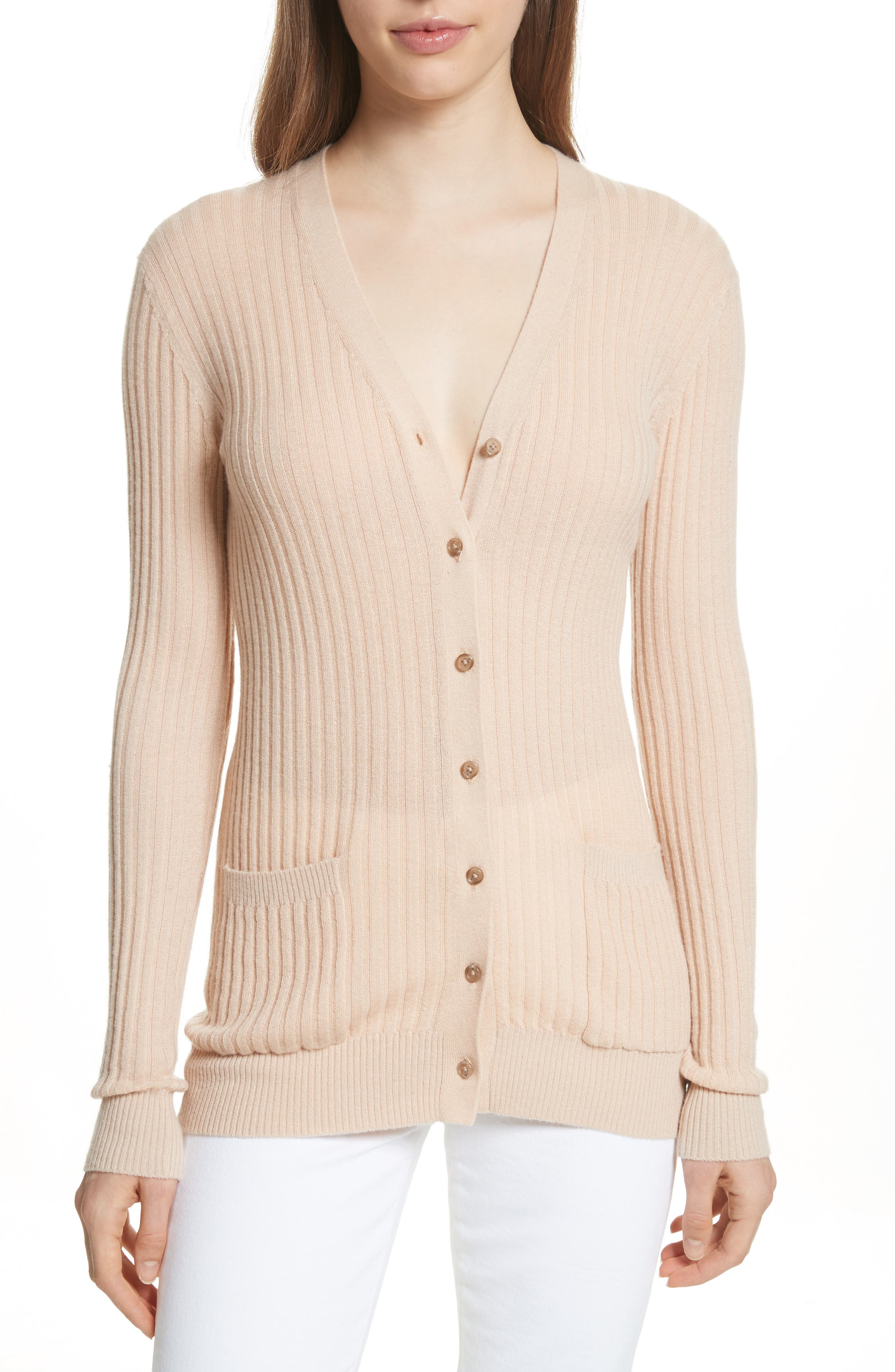 Skinny Ribbed Cashmere Cardigan,                             Main thumbnail 1, color,                             298