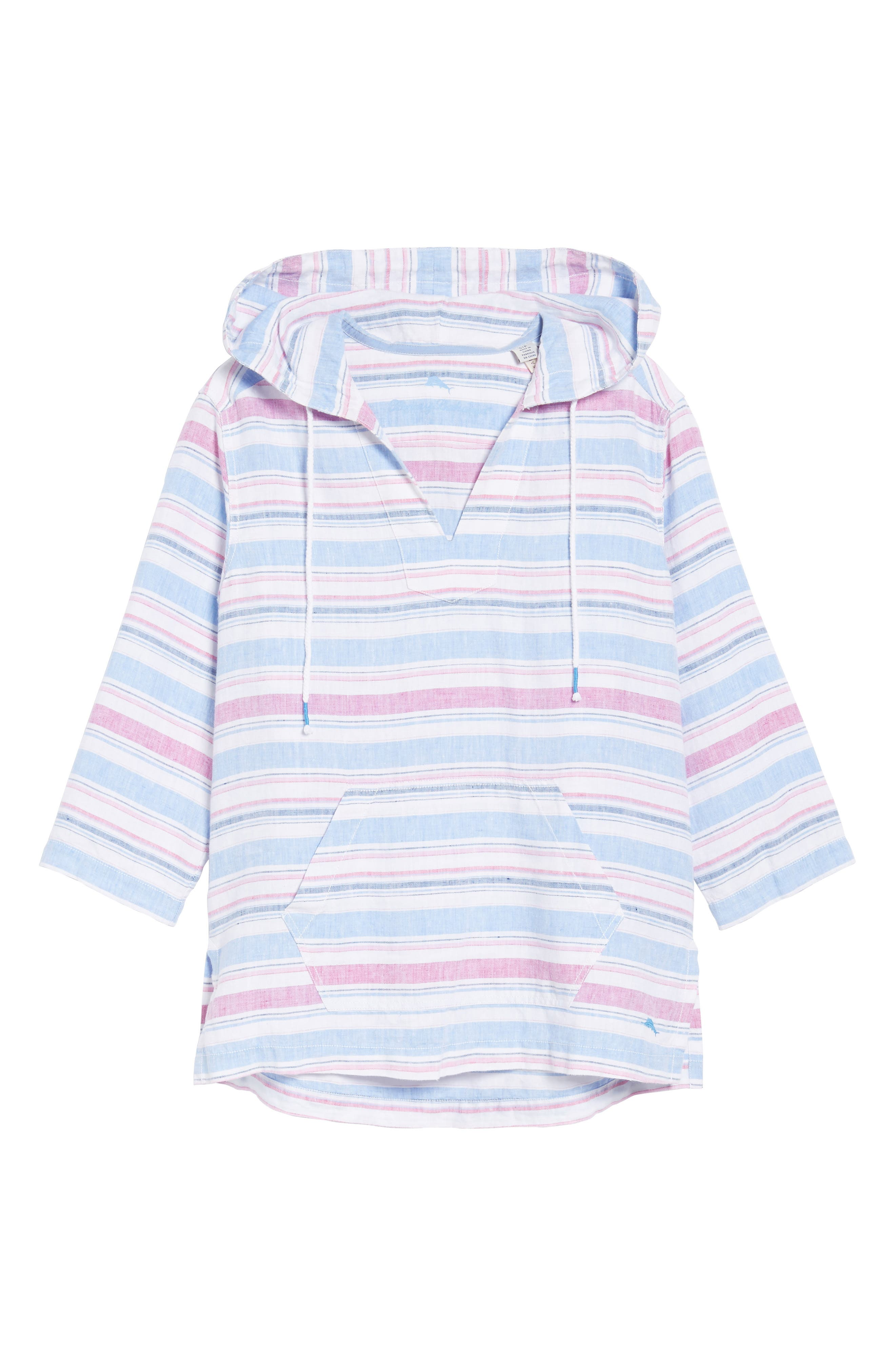 Tulum Stripe Linen Hoodie,                             Alternate thumbnail 6, color,                             MOUNTAIN BLUEBELL