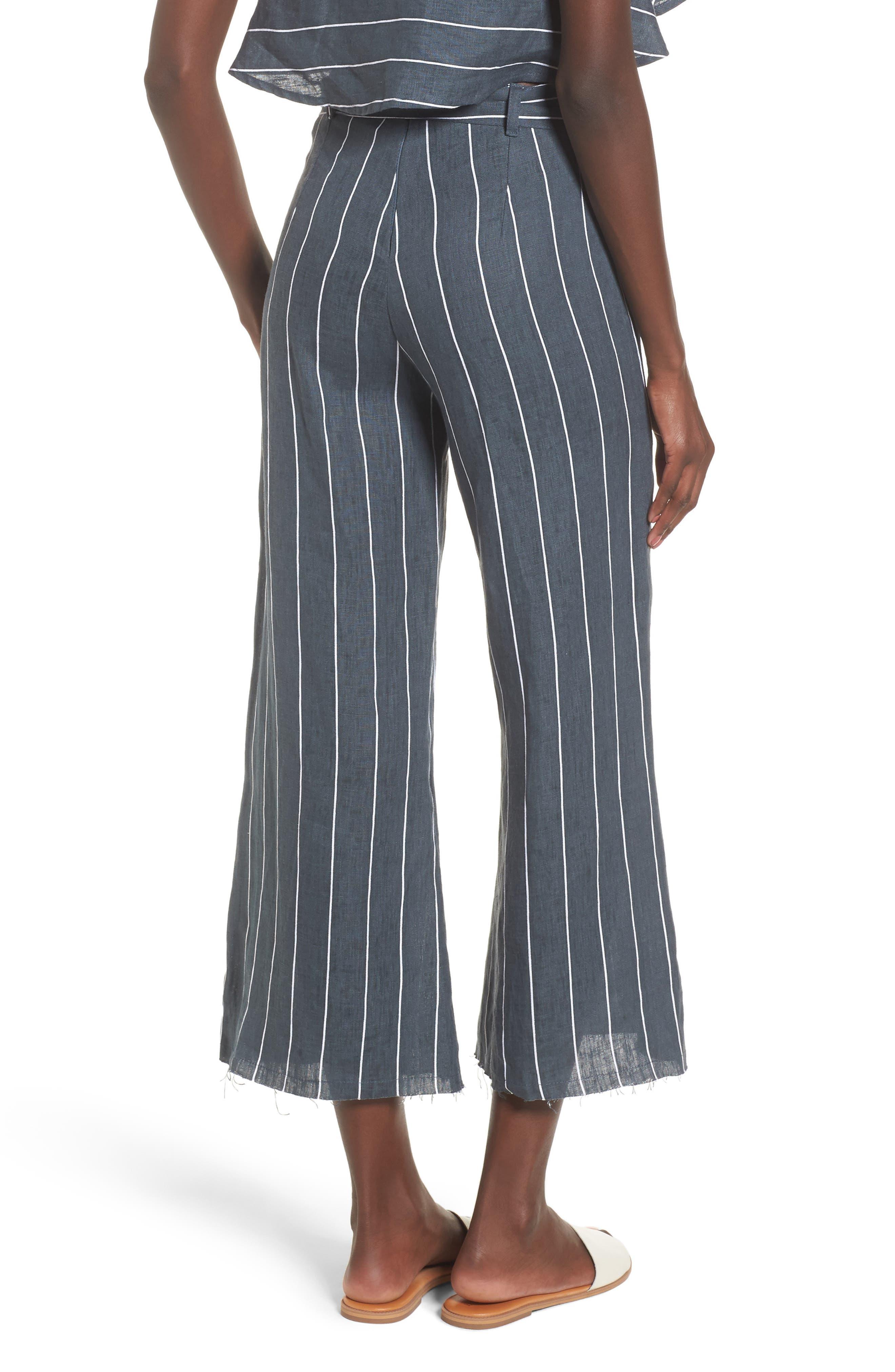 Como Pinstripe Wide Leg Crop Linen Pants,                             Alternate thumbnail 2, color,                             CHARCOAL