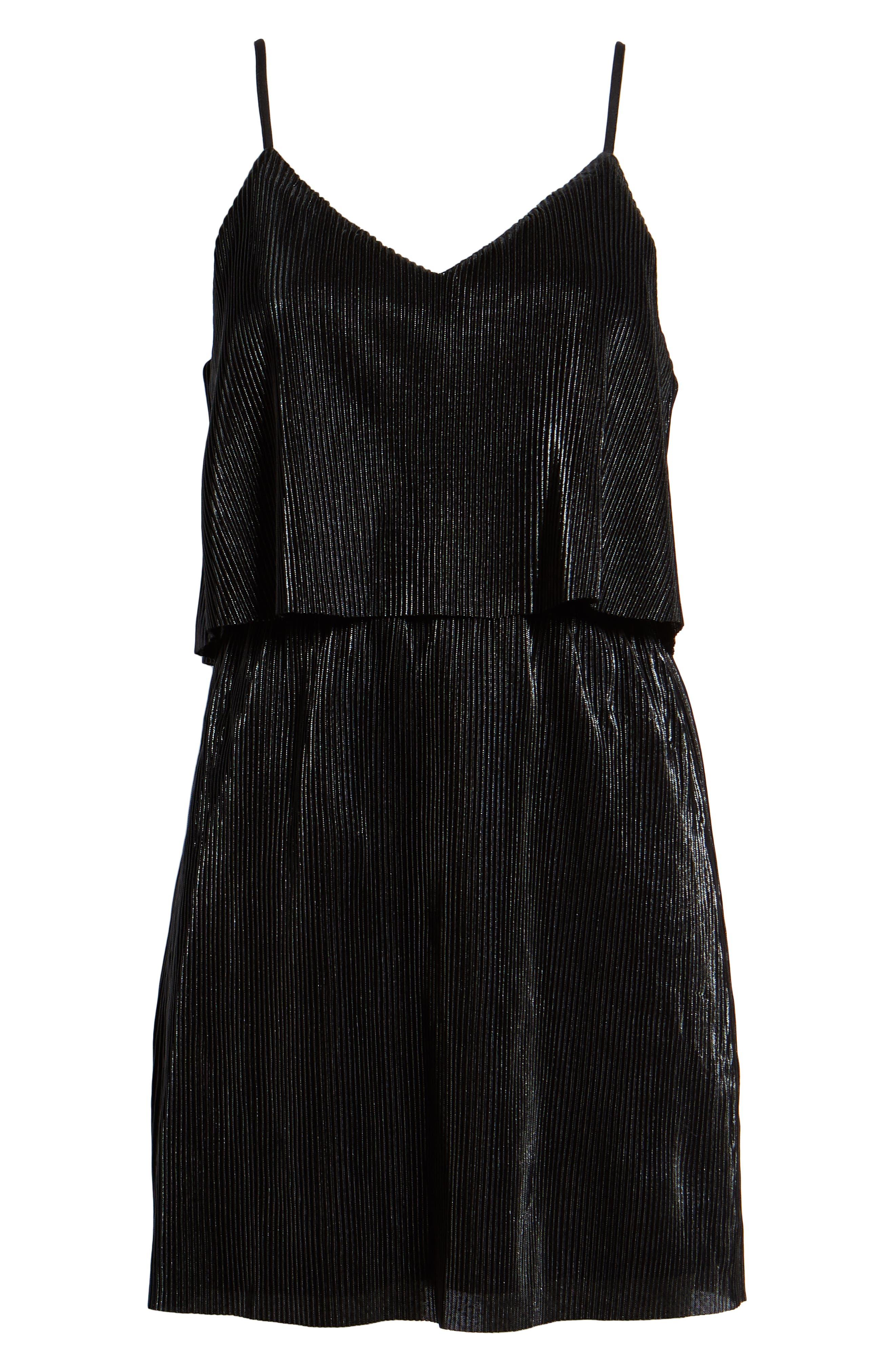 Shine On Shine On Pleated Dress,                             Alternate thumbnail 7, color,                             BLACK