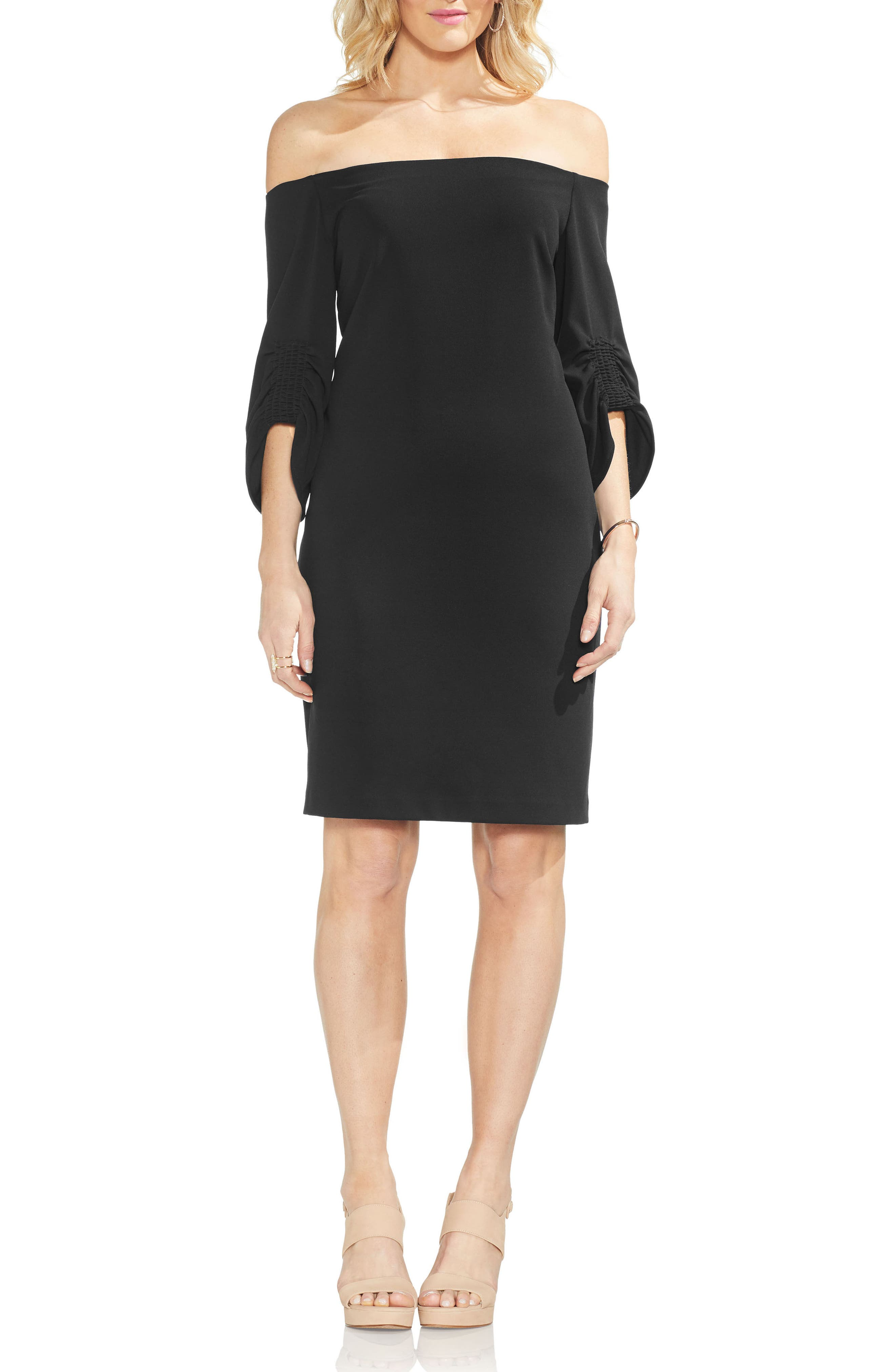 Off the Shoulder Cinched Sleeve Sheath Dress,                             Main thumbnail 1, color,                             RICH BLACK