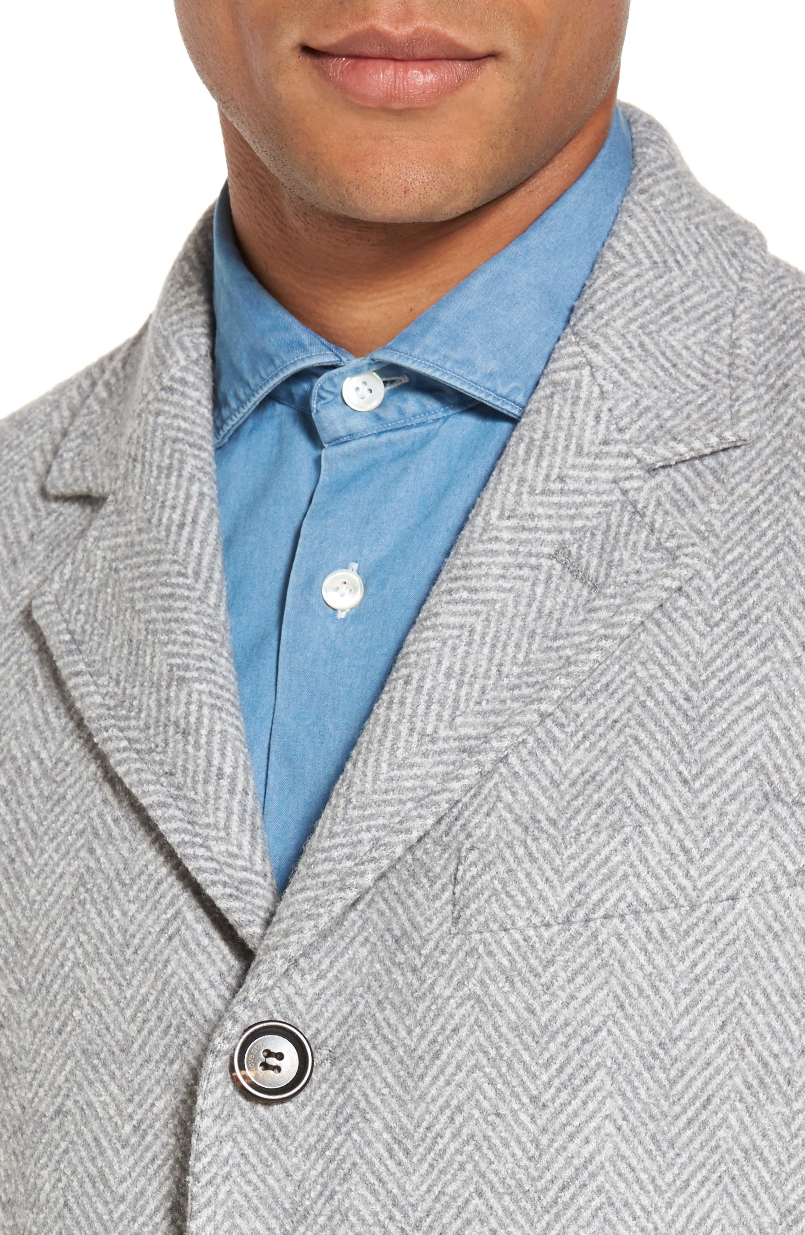 Herringbone Wool Blend Overcoat,                             Alternate thumbnail 4, color,