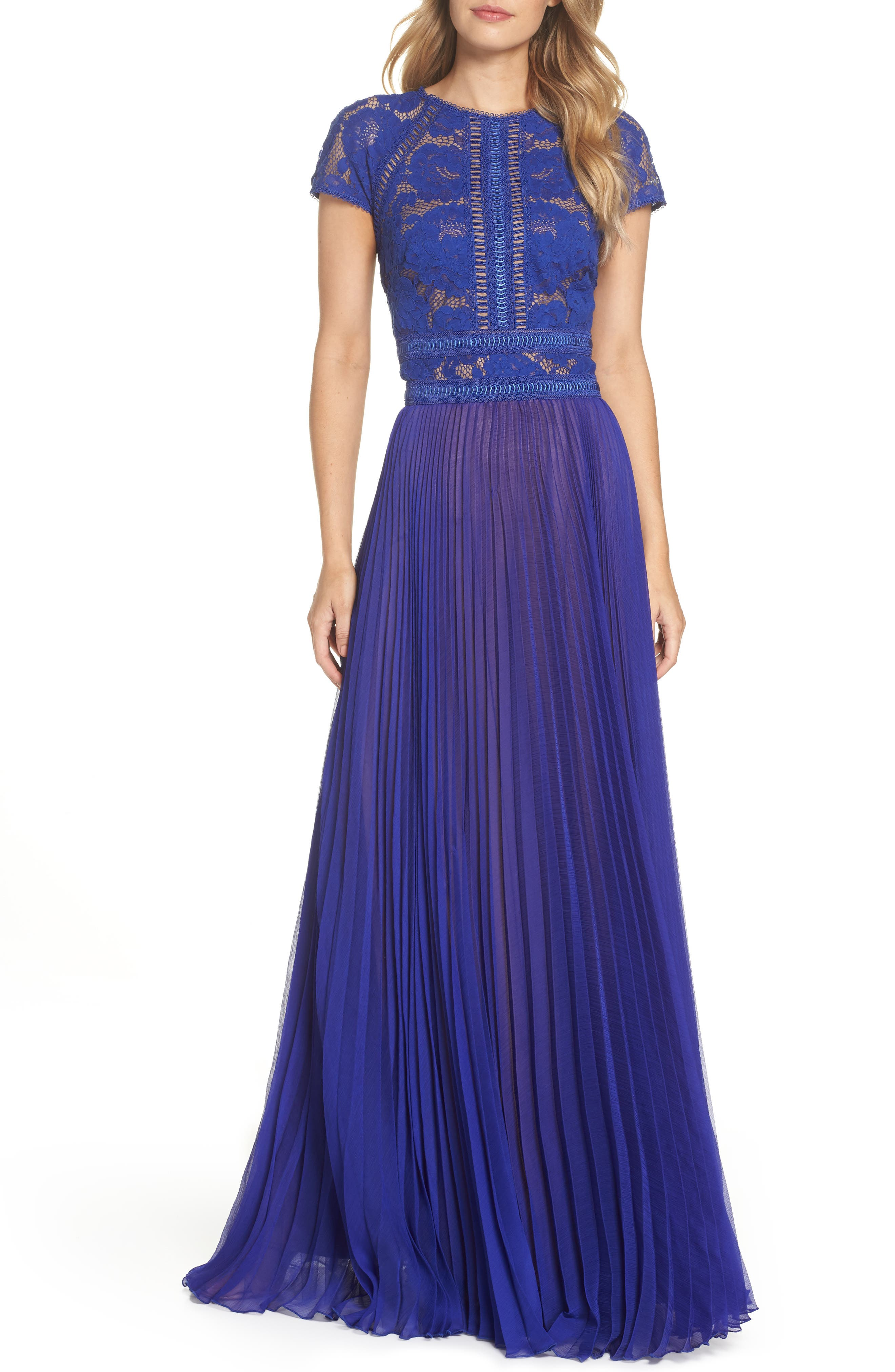 Lace & Chiffon A-Line Gown,                             Main thumbnail 1, color,                             490