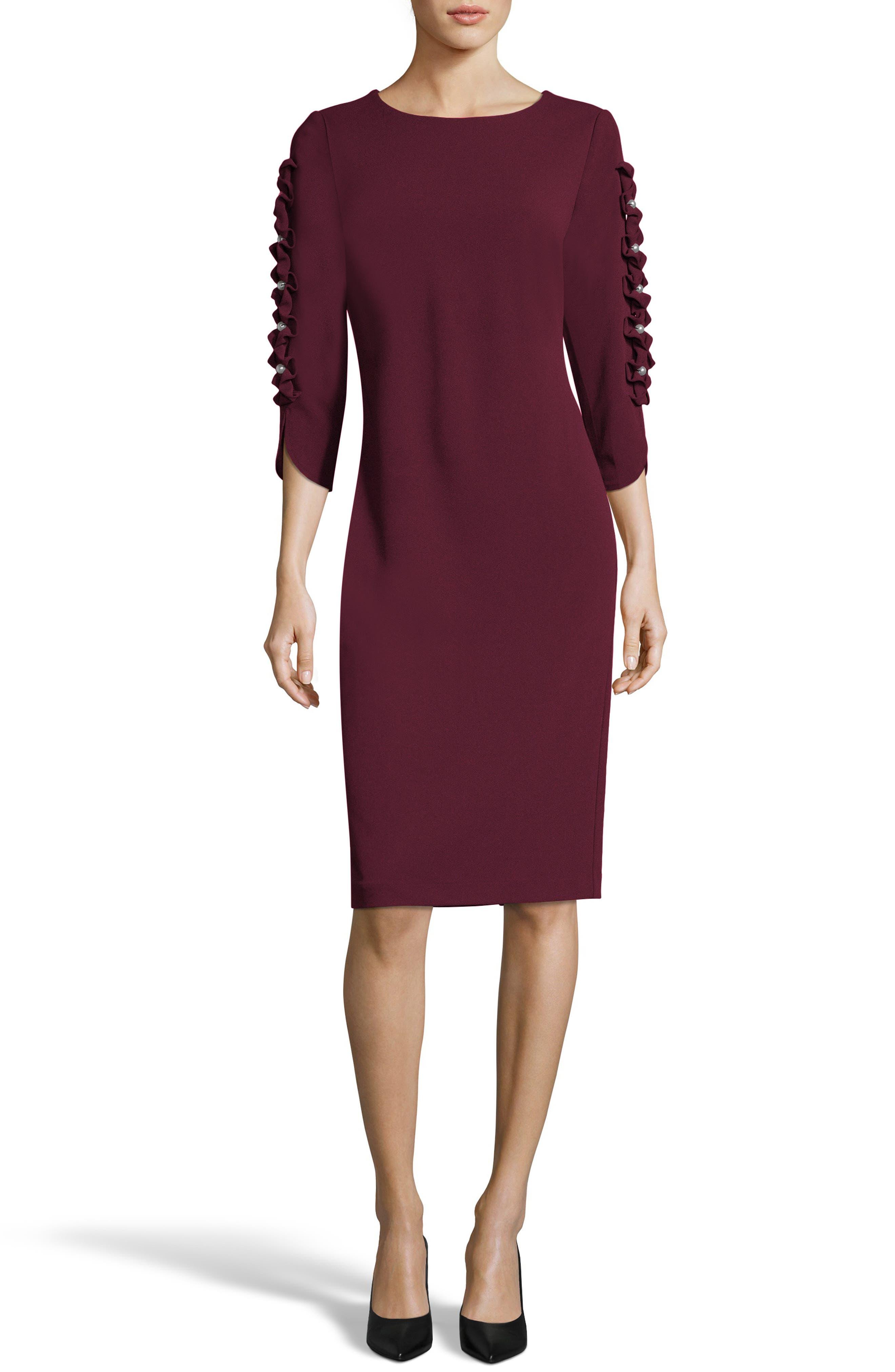 Eci Ruffle Sleeve Sheath Dress, Burgundy