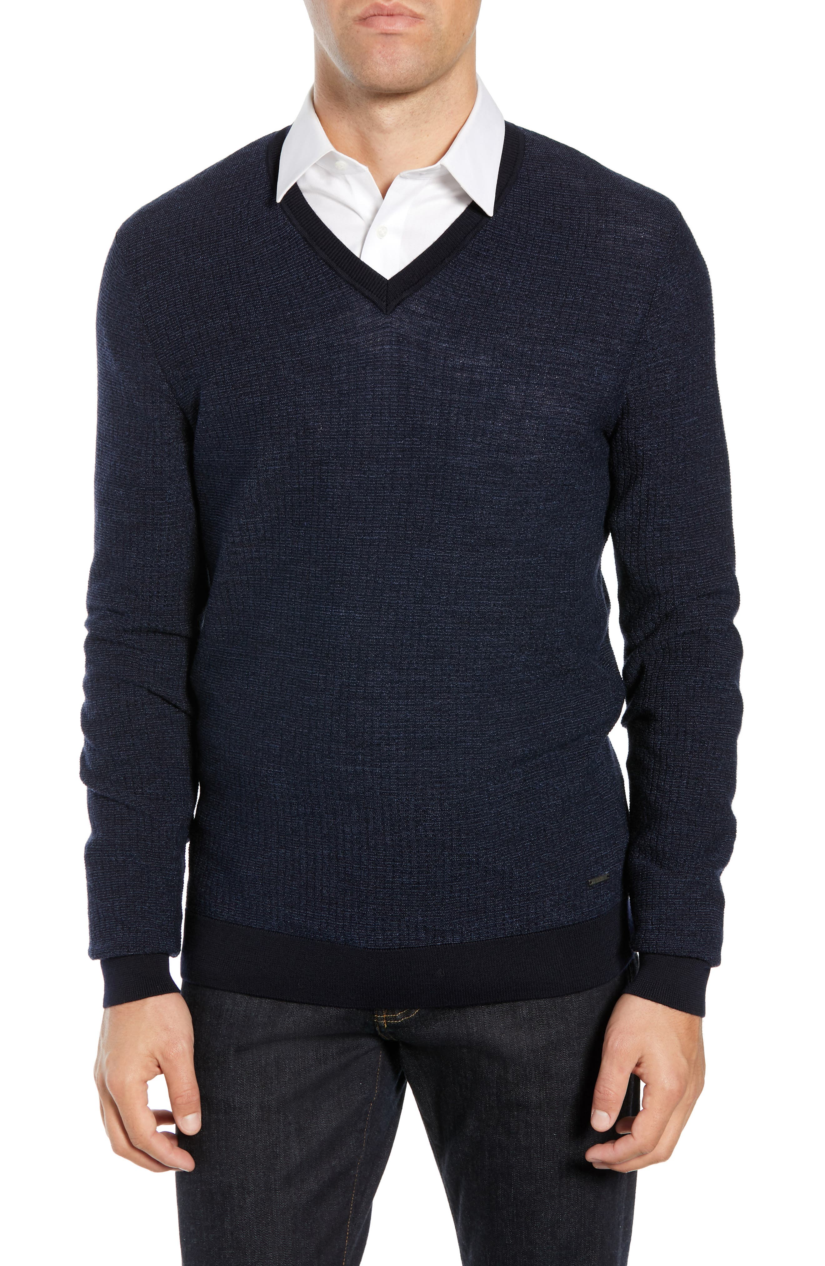 Emauro Mouline V-Neck Slim Fit Sweater,                             Main thumbnail 1, color,                             BLUE